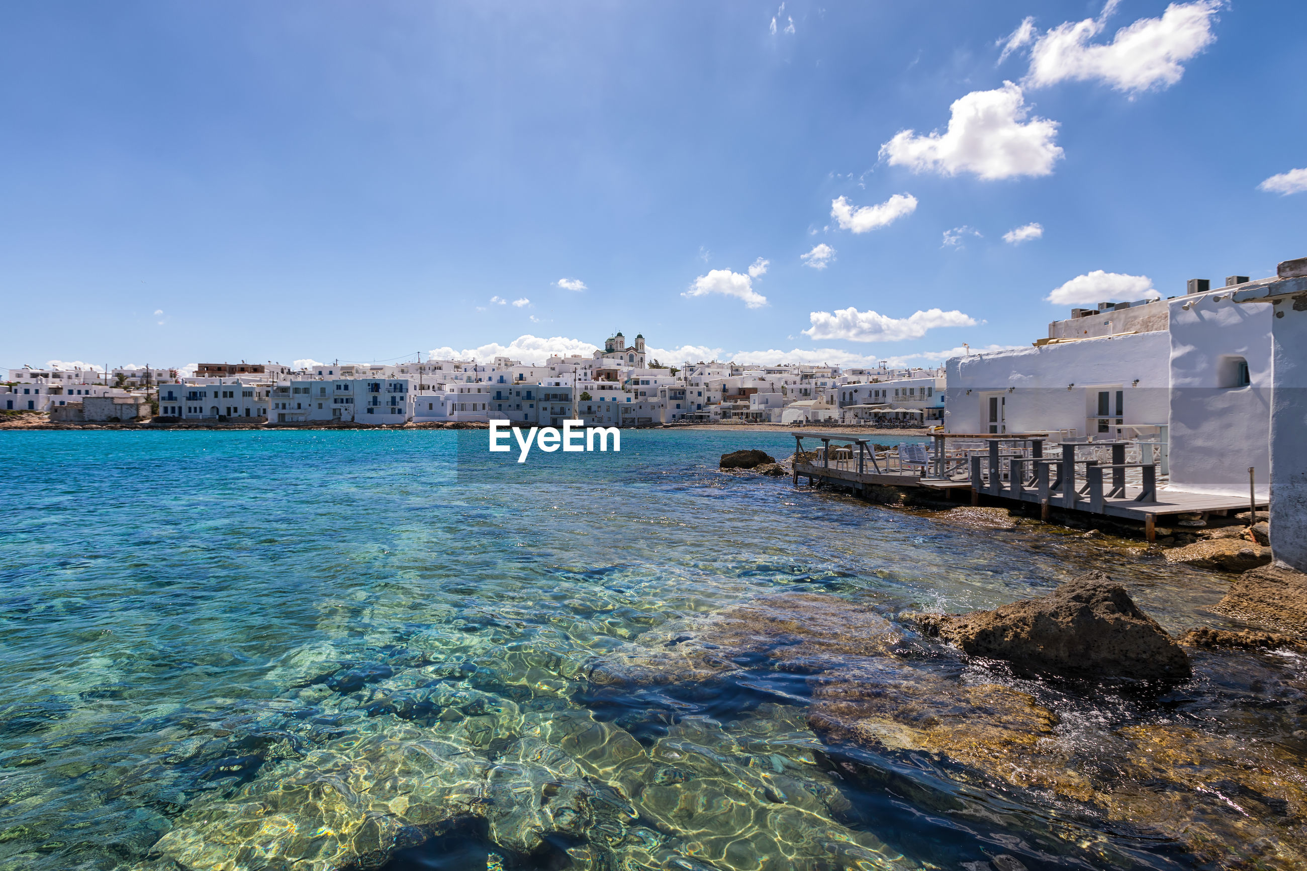 SCENIC VIEW OF SEA AGAINST BUILDINGS