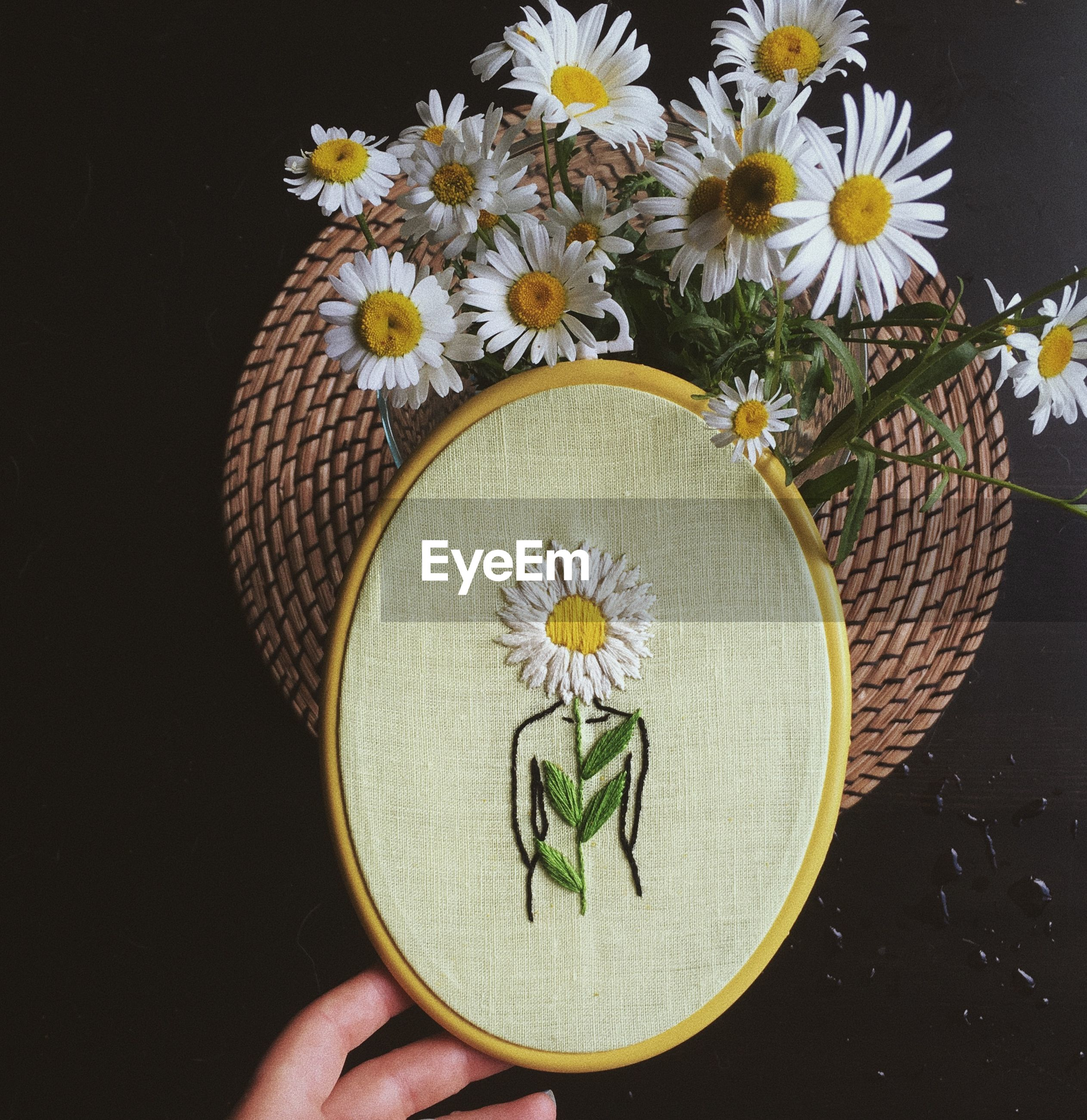 Close-up of hand holding embroidery art over white flowering plants