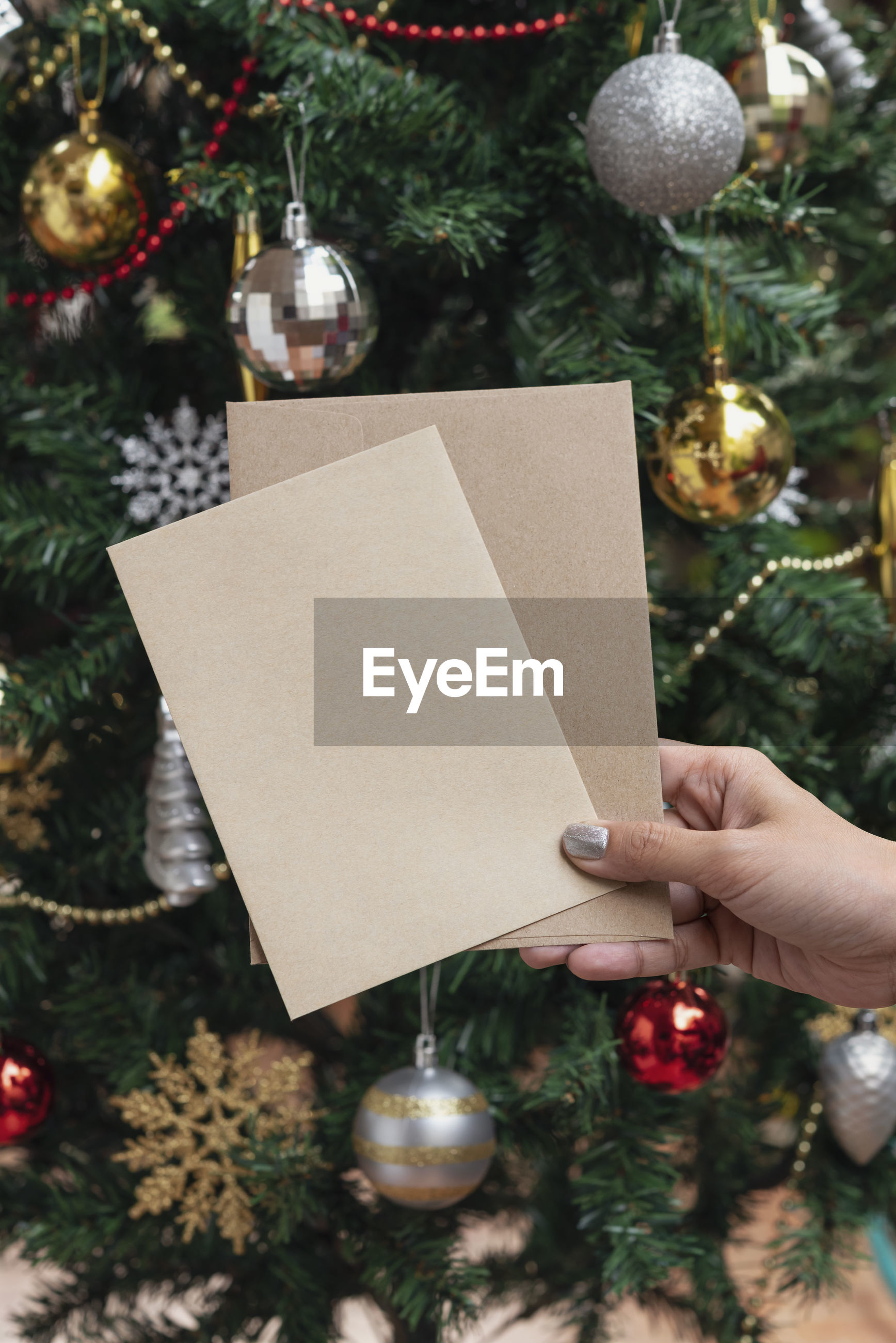 Close-up of hand holding blank paper against christmas tree