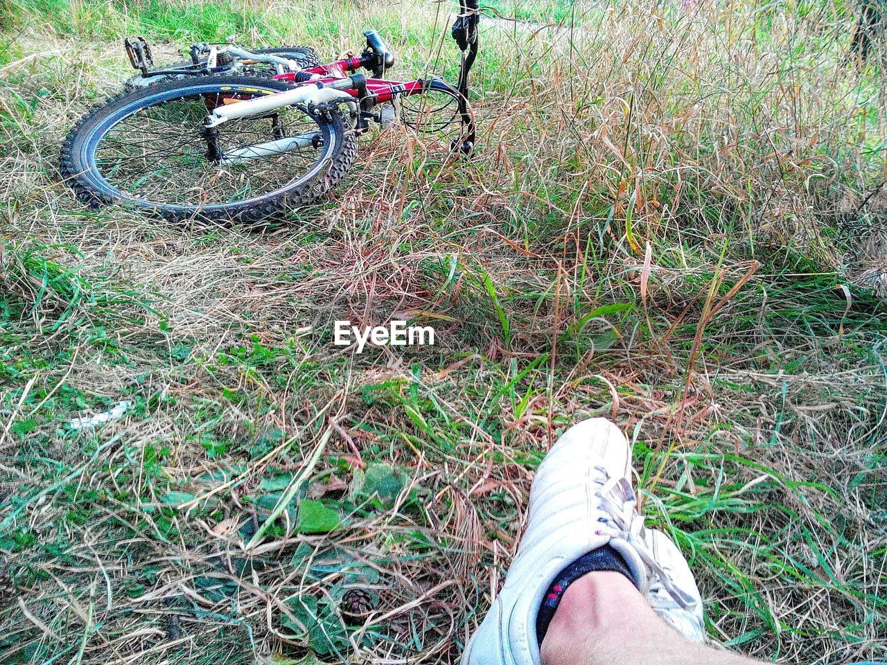 Low section of man wearing shoes on grassy field by fallen bicycle