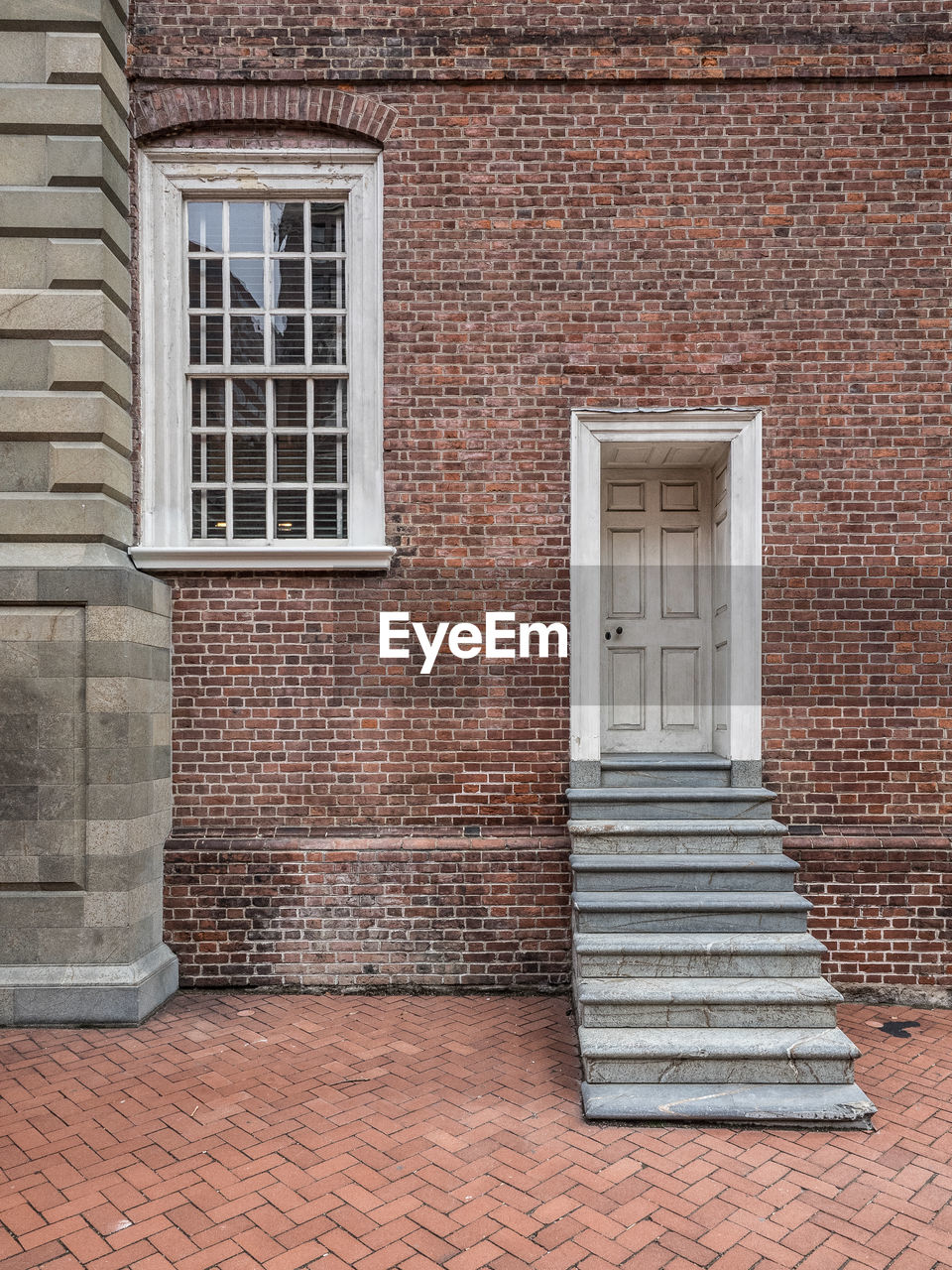 architecture, building exterior, brick, brick wall, built structure, window, door, steps, no people, outdoors, day