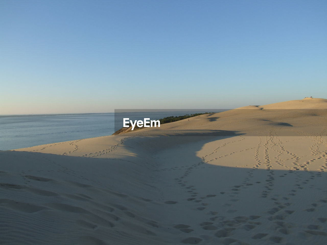 sand, beach, scenics, tranquil scene, sand dune, clear sky, sea, nature, tranquility, beauty in nature, horizon over water, footprint, copy space, water, desert, outdoors, day, sunlight, no people, blue, sky, arid climate