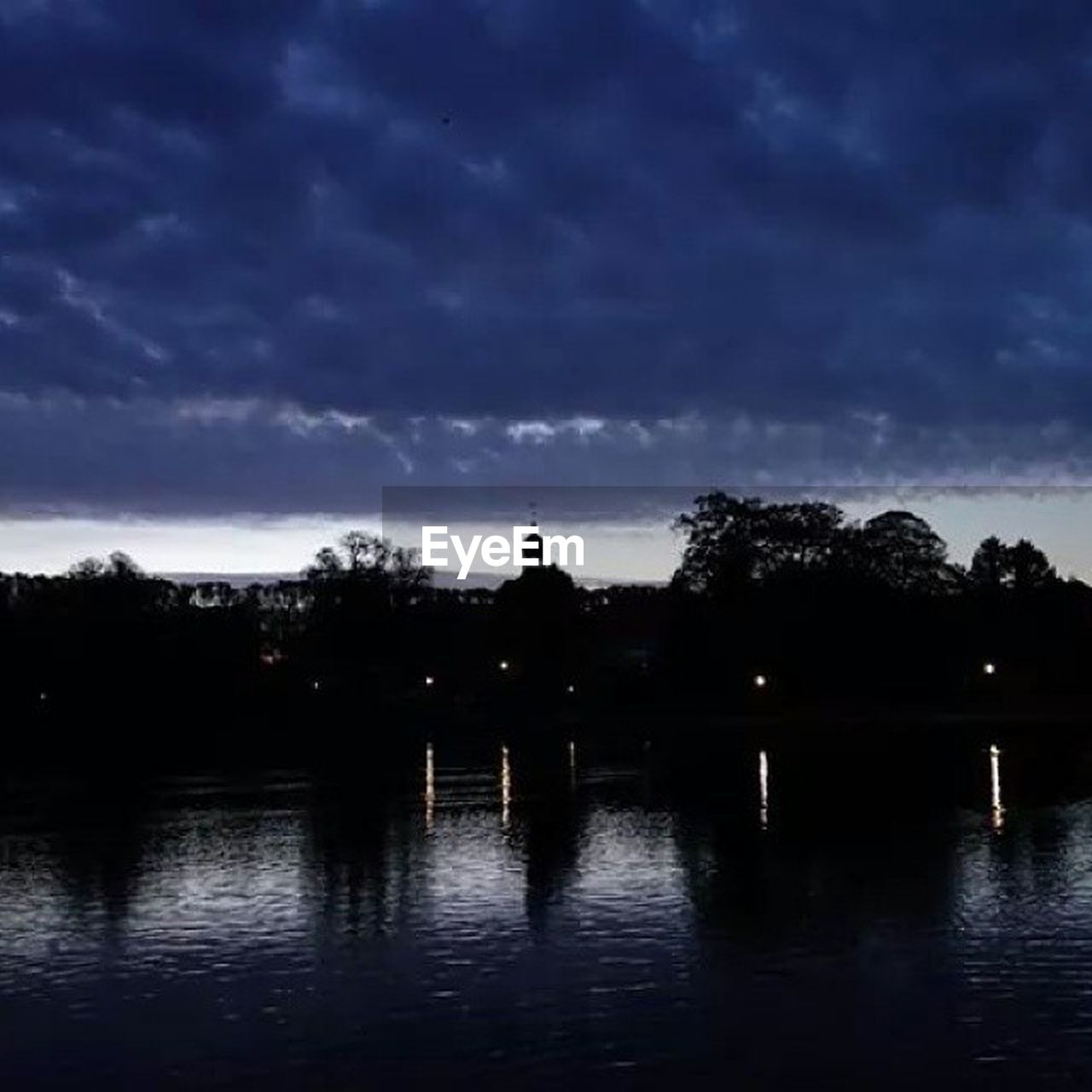 silhouette, cloud - sky, reflection, sky, water, outdoors, tree, building exterior, no people, night, architecture