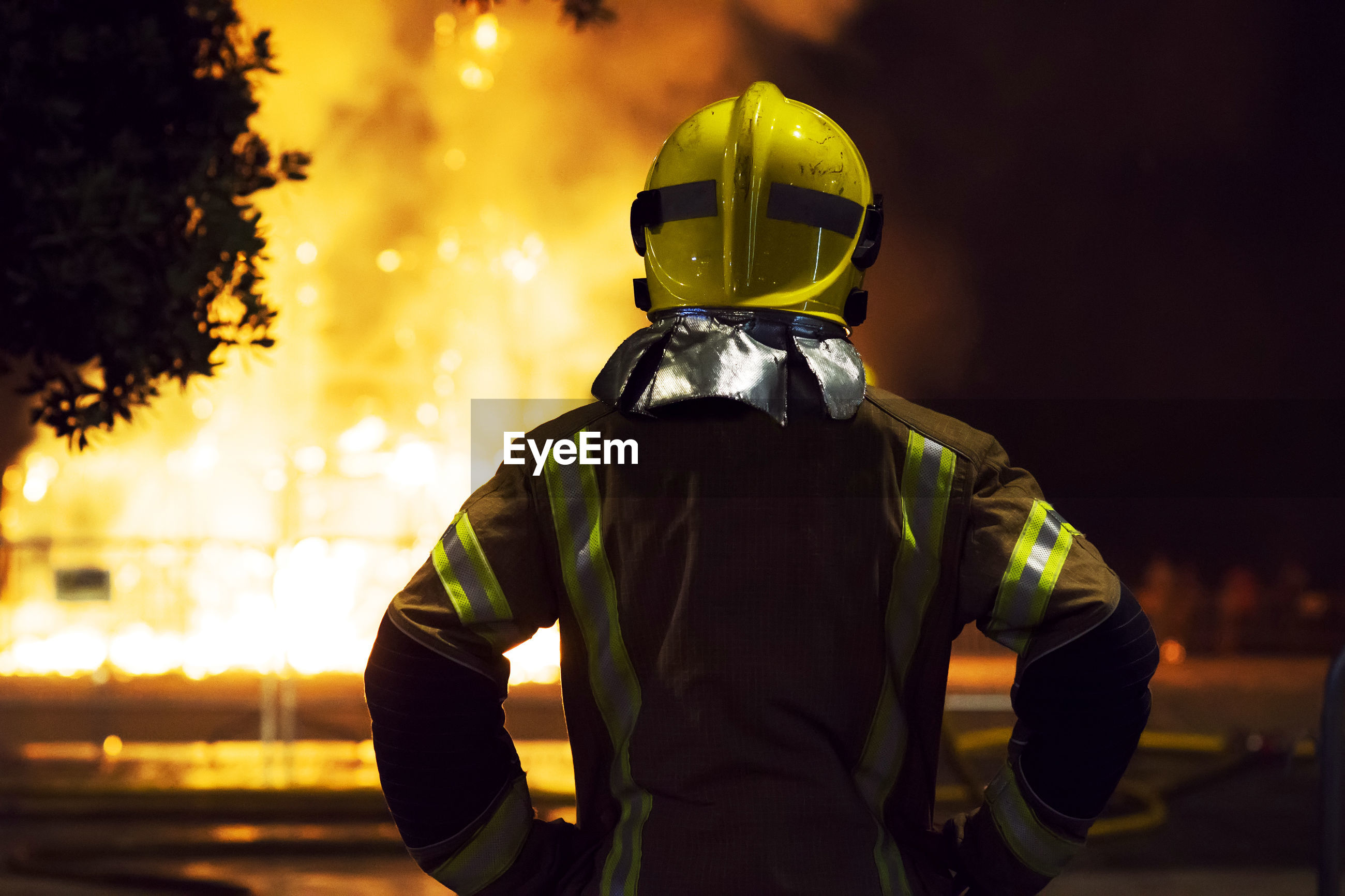 Firefighter at night