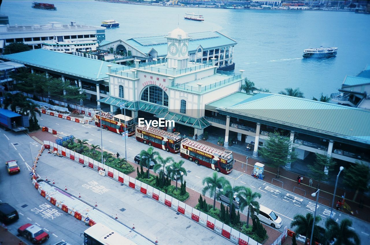 High angle view of building by harbor at tsim sha tsui