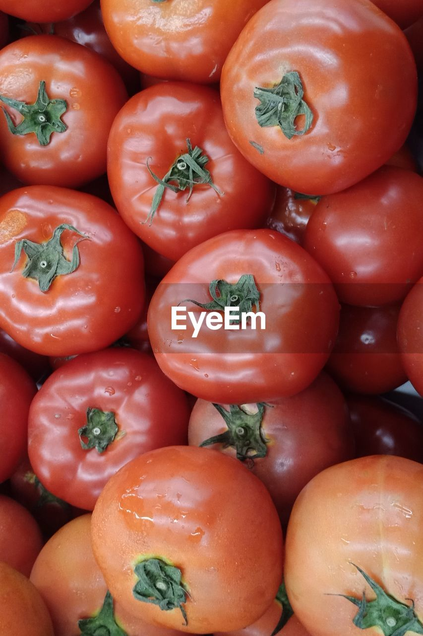 HIGH ANGLE VIEW OF TOMATOES AT MARKET