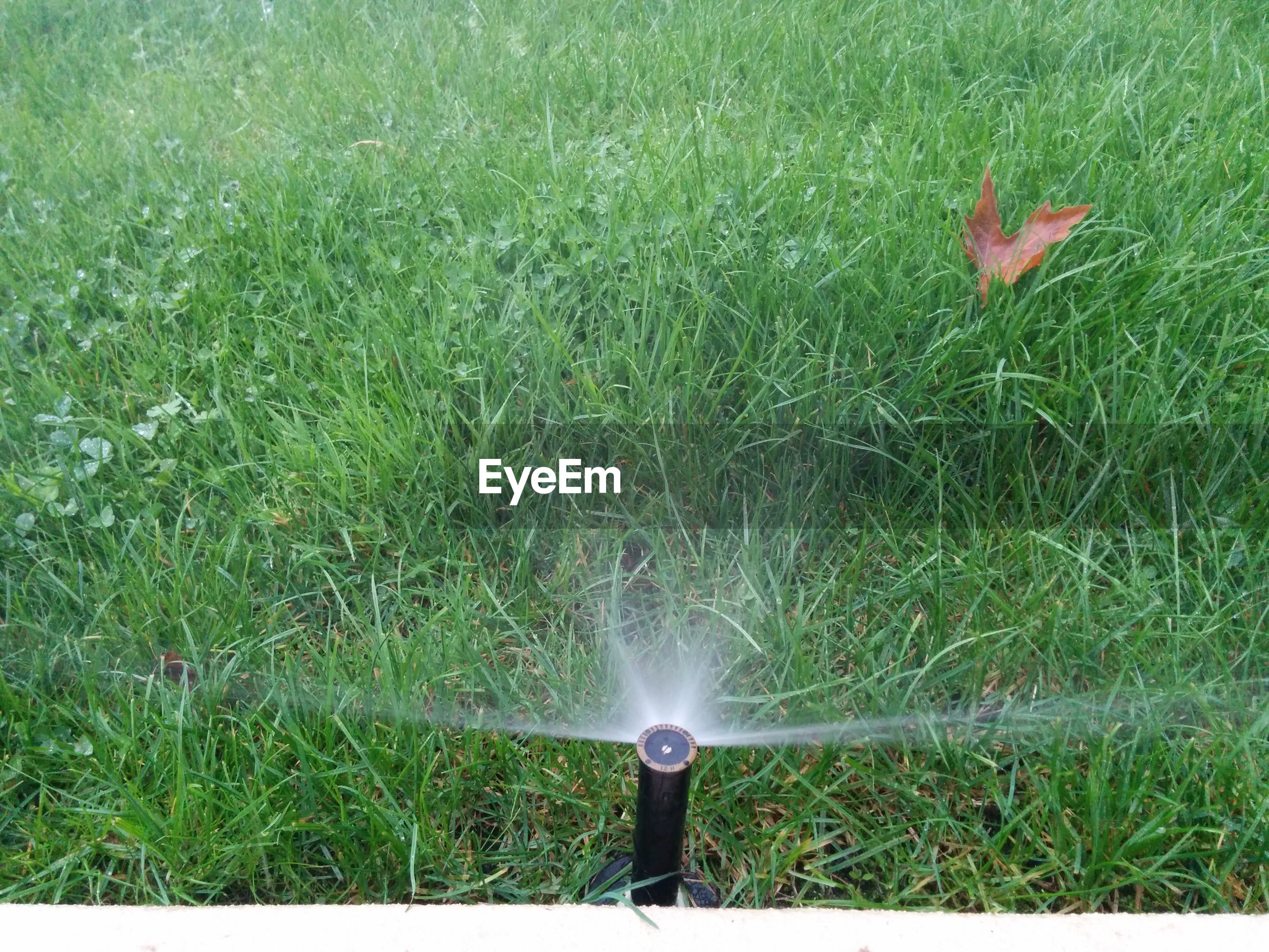 High angle view of agricultural sprinkler on grassy field
