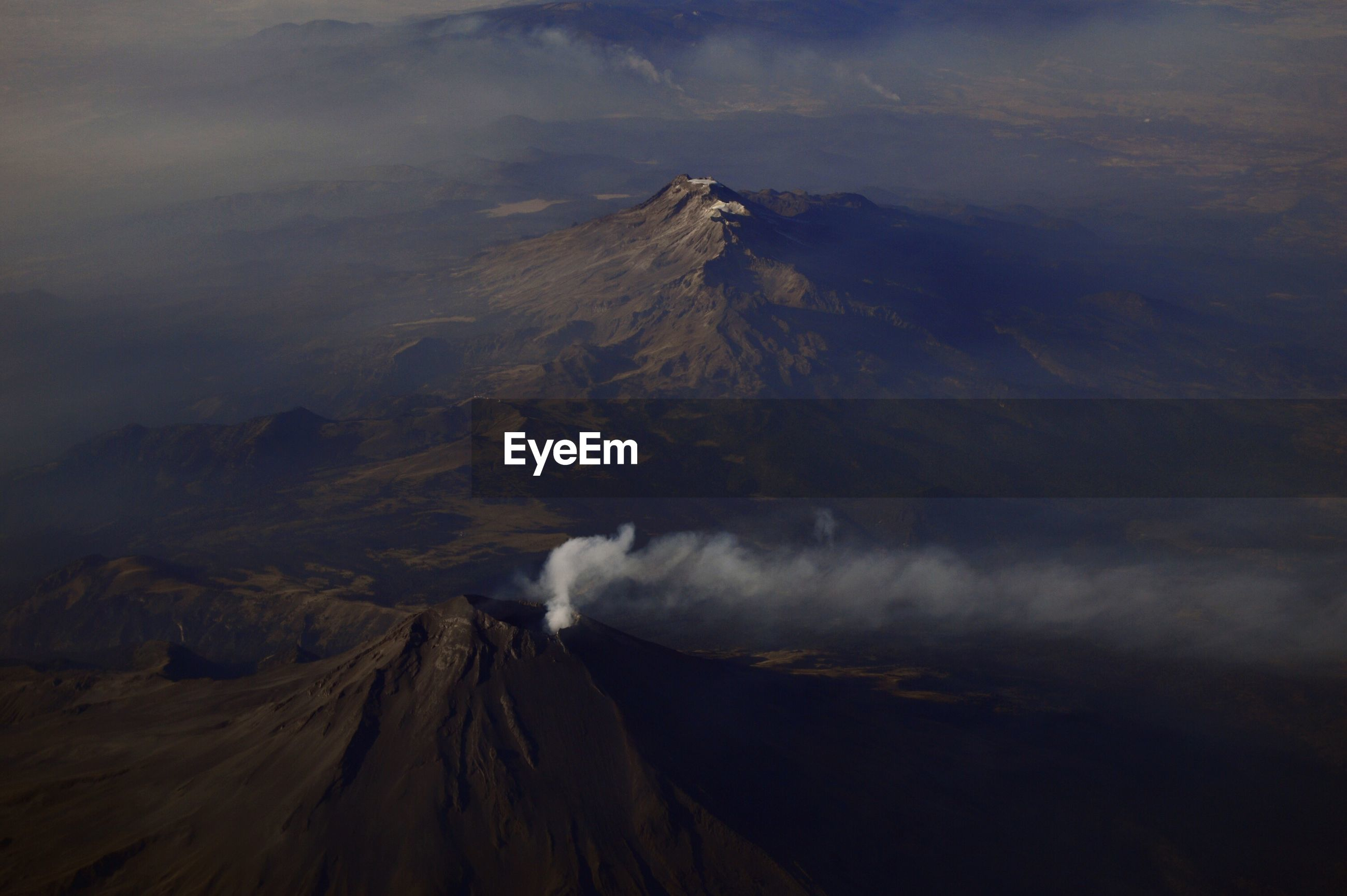 Aerial view of acitve volcano