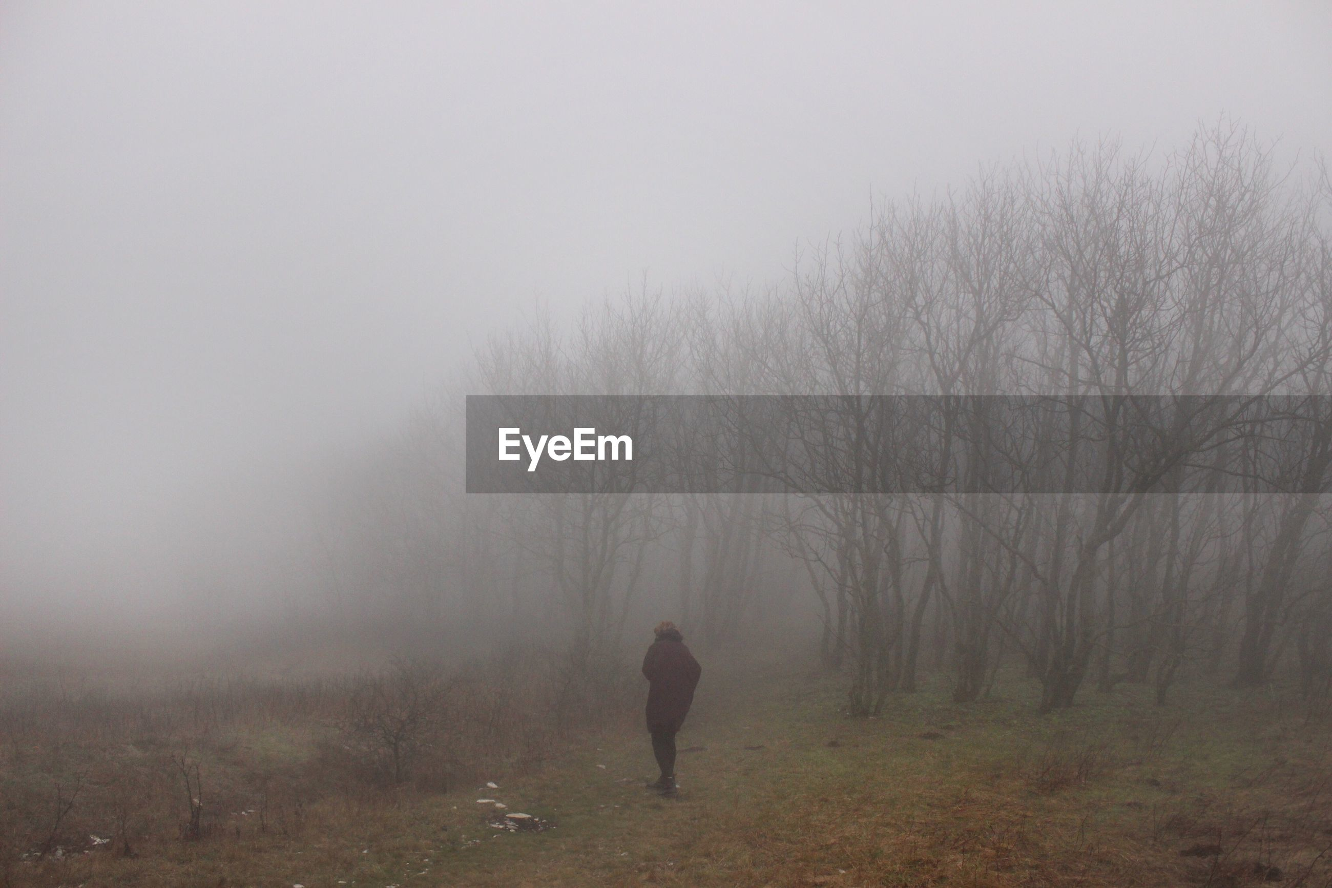 REAR VIEW OF A MAN WALKING ON FOGGY WEATHER