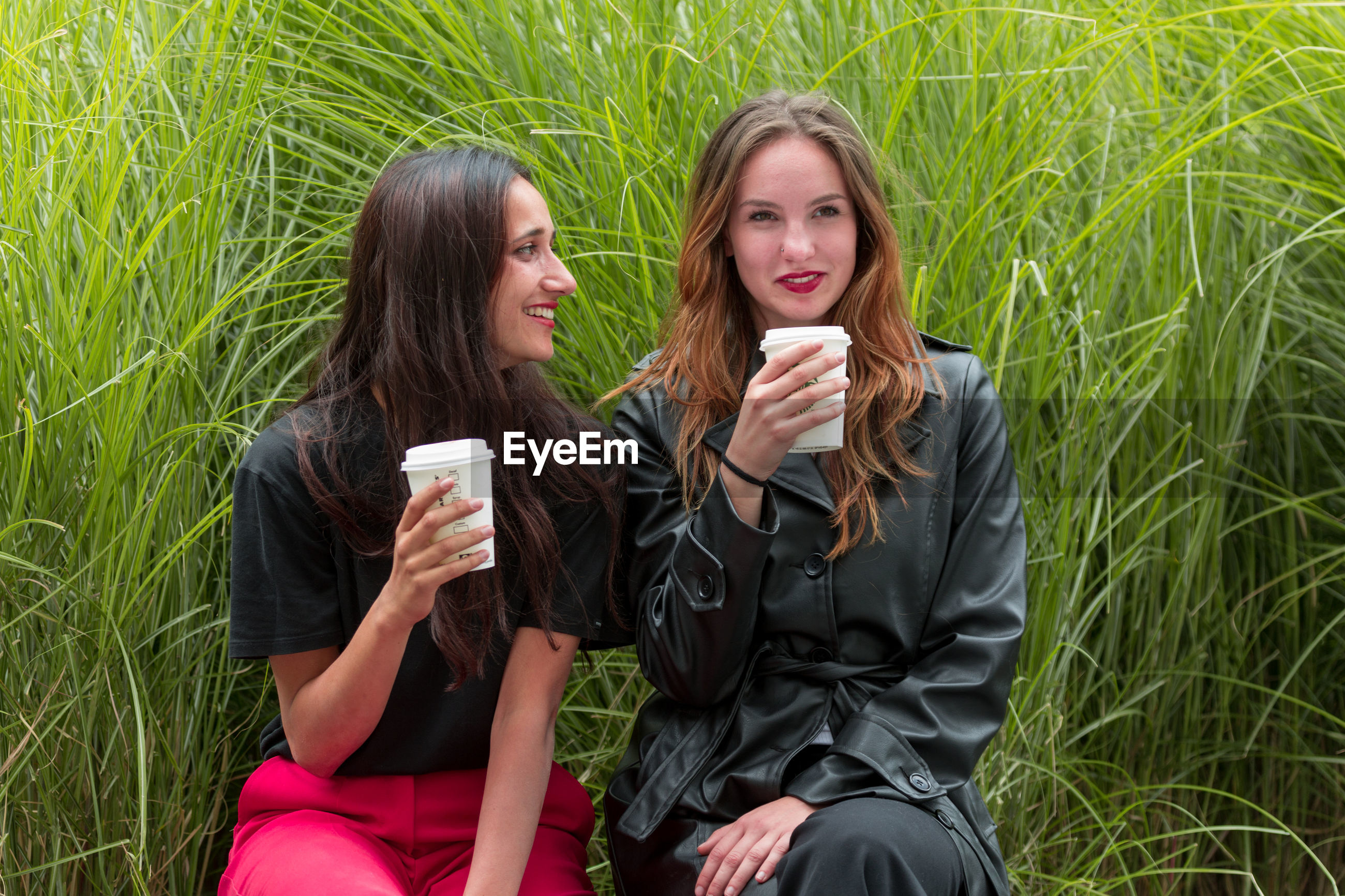 Young women talking while having coffee against plants