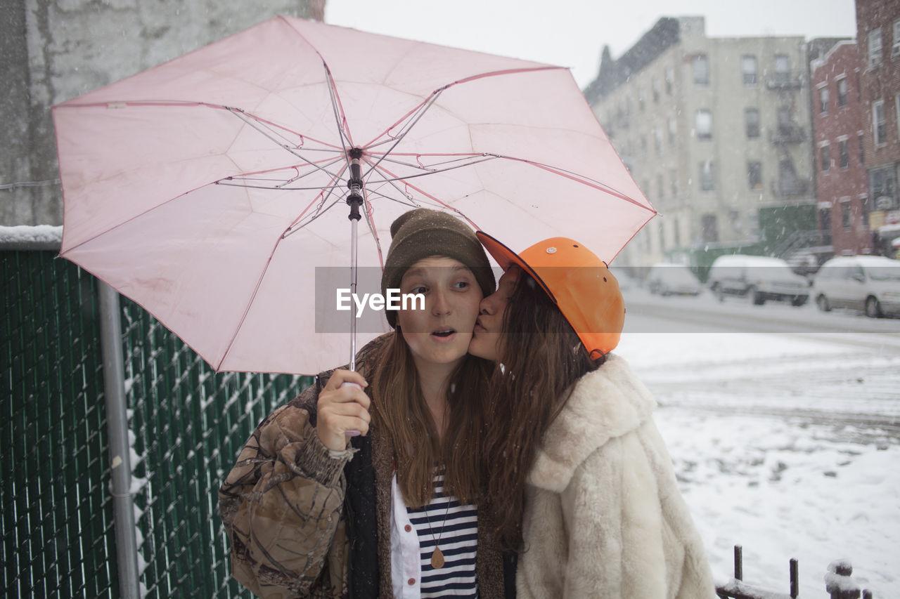 PORTRAIT OF WOMAN WITH UMBRELLA STANDING IN RAIN