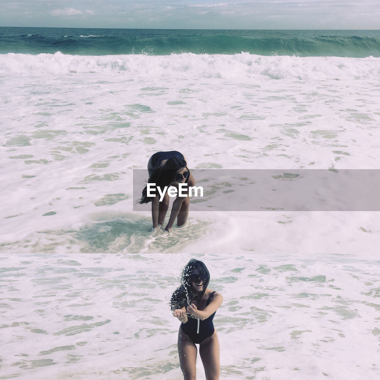 Multiple Image Of Woman Playing In Sea