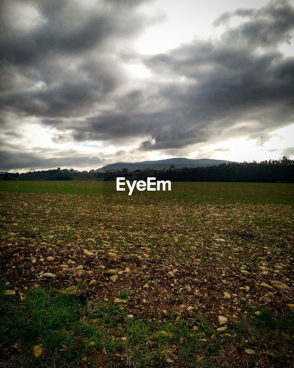 field, agriculture, tranquility, landscape, nature, sky, cloud - sky, growth, tranquil scene, scenics, farm, beauty in nature, rural scene, no people, outdoors, day, plough, storm cloud, mountain, grass, plowed field