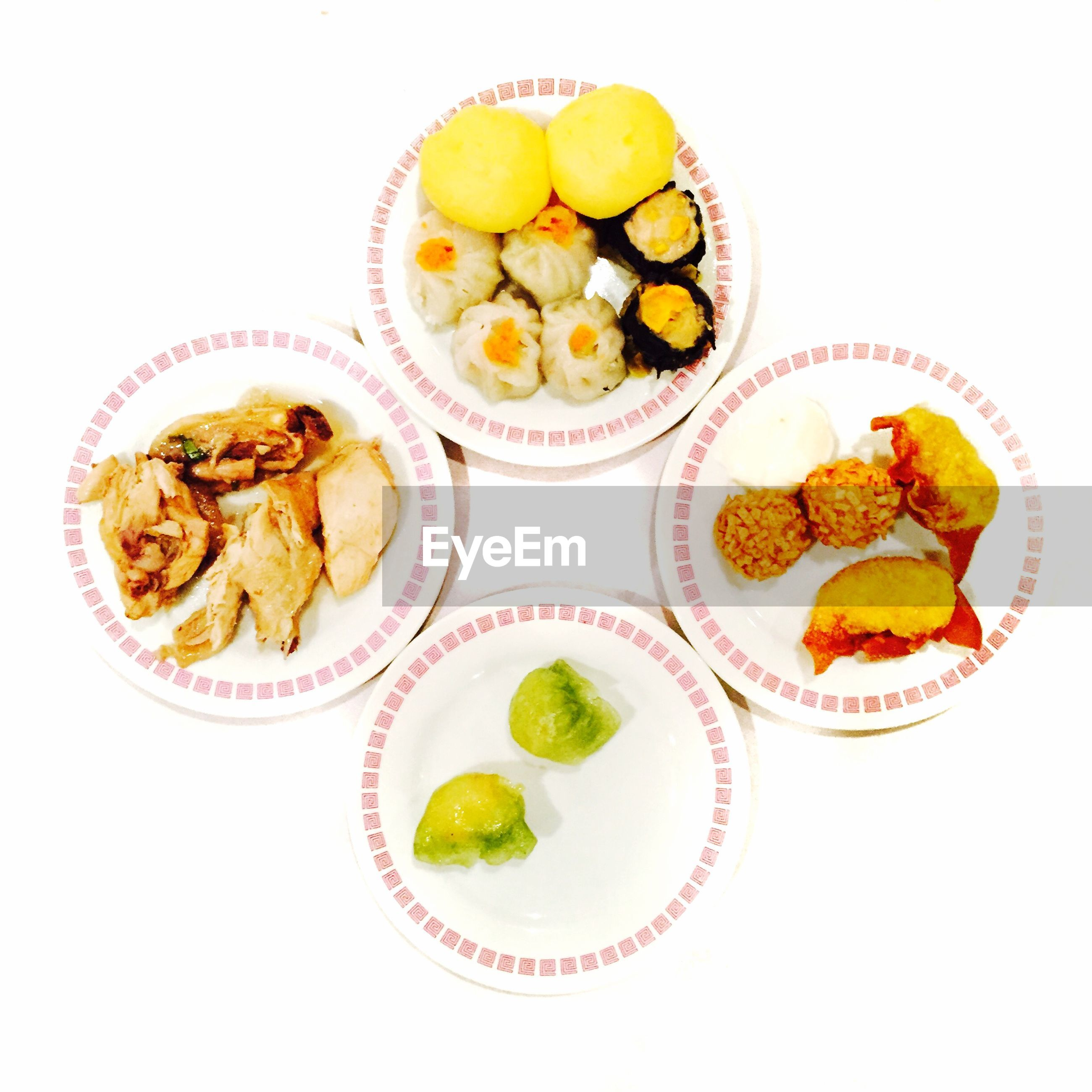 Directly above view of fresh chinese food on white background