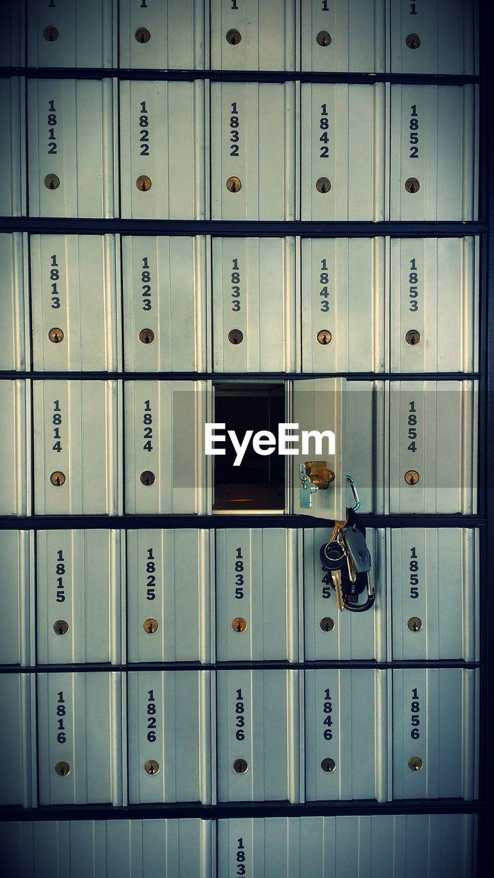 Close-Up Of Keys On Open Locker