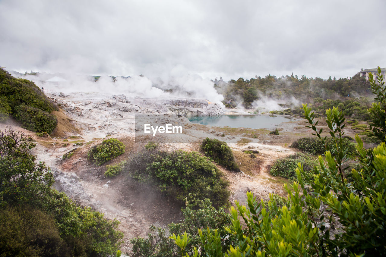 beauty in nature, scenics - nature, cloud - sky, water, sky, plant, nature, non-urban scene, environment, day, land, no people, smoke - physical structure, power in nature, tranquil scene, physical geography, geology, tranquility, steam, outdoors, hot spring, flowing water