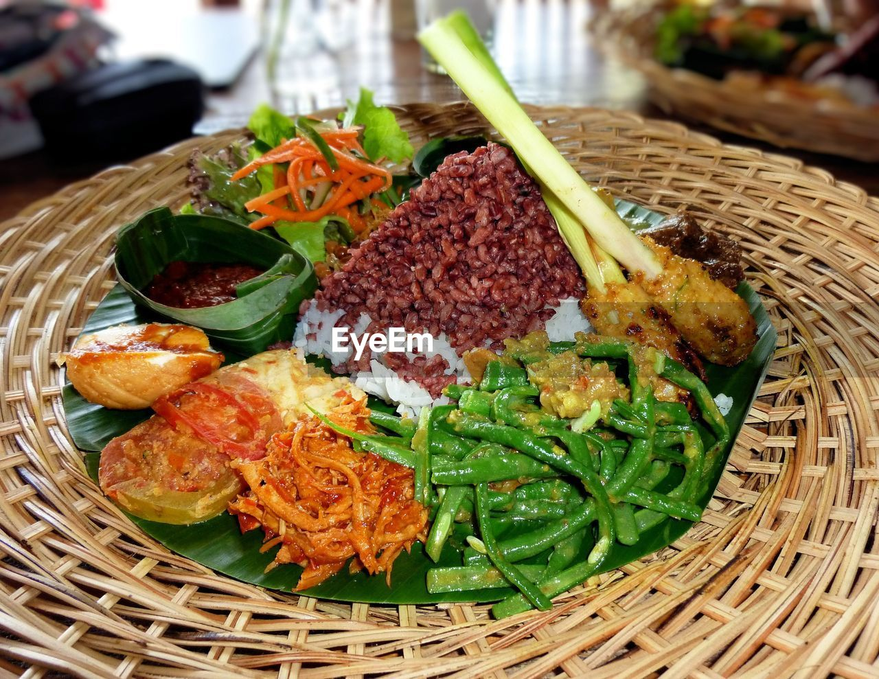 High angle view of food in wicker plate