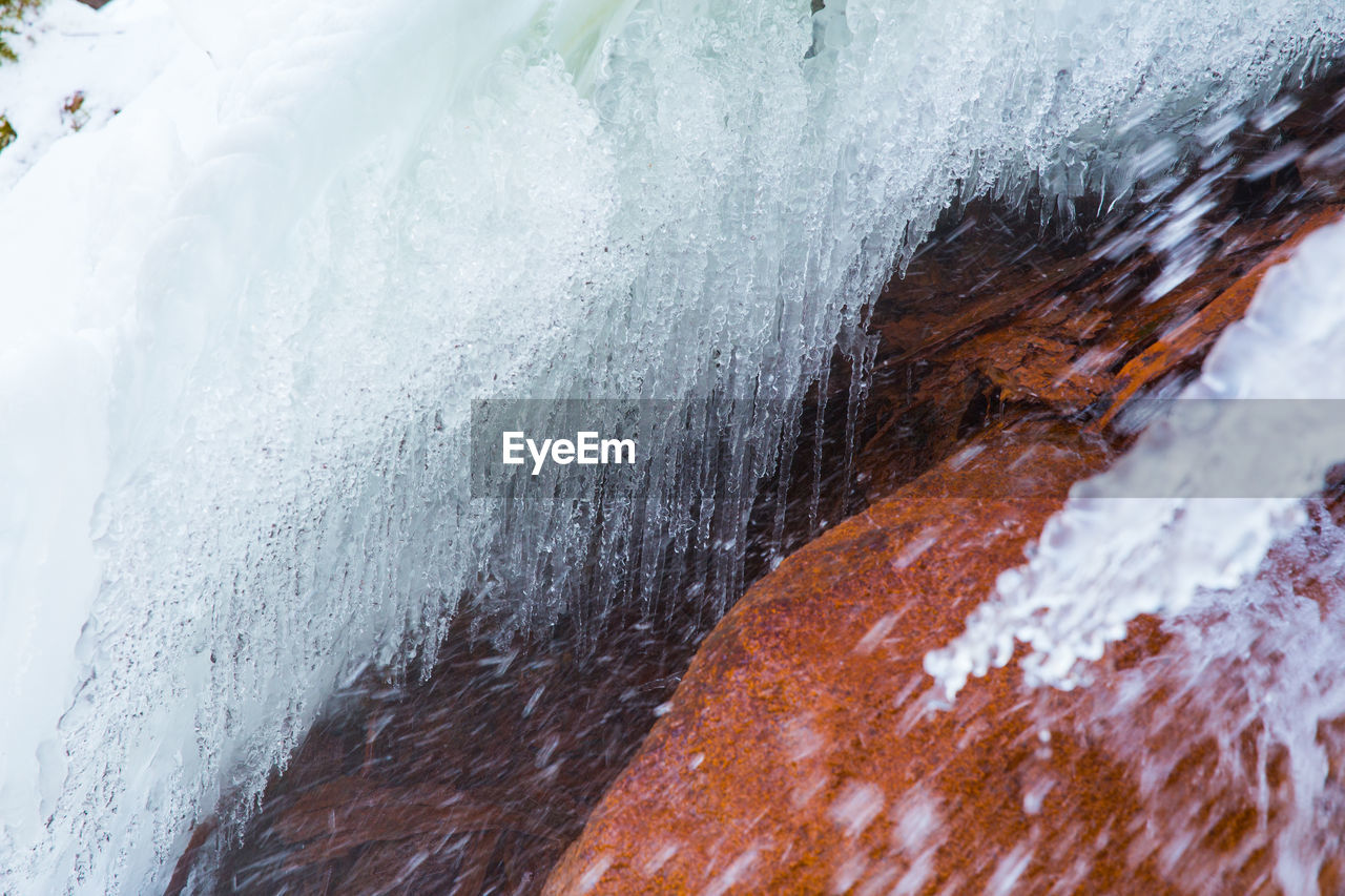 cold temperature, winter, snow, close-up, frozen, no people, nature, ice, day, white color, motion, outdoors, beauty in nature, environment, full frame, icicle, water, selective focus, flowing water, melting