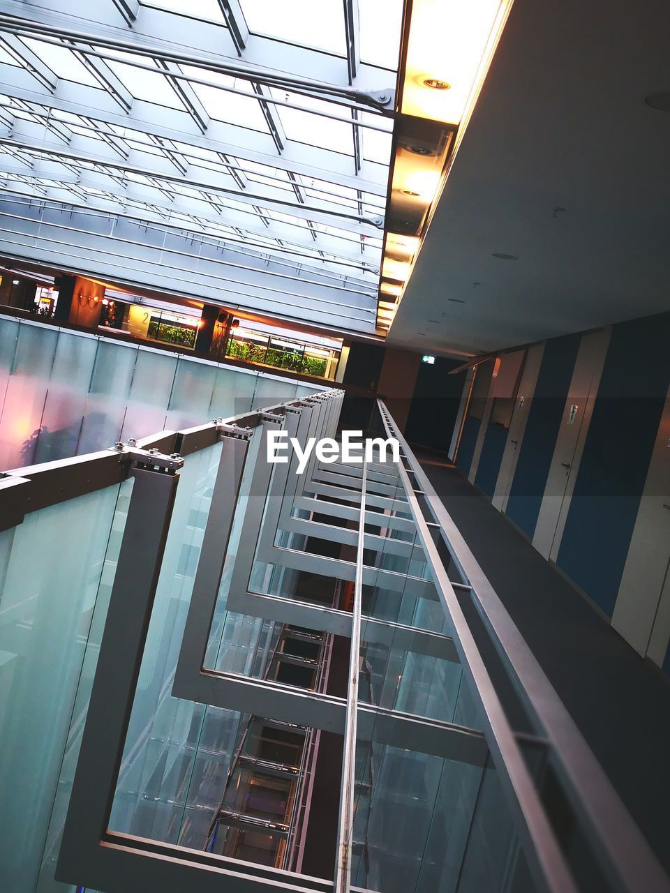 architecture, built structure, window, indoors, modern, no people, low angle view, steps and staircases, building exterior, day