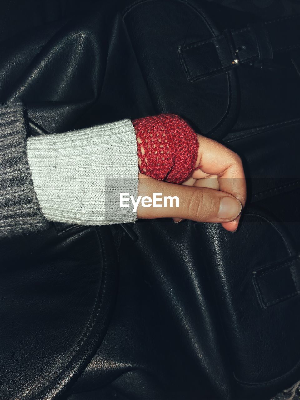 Close-up high angle view of person wearing warm clothing