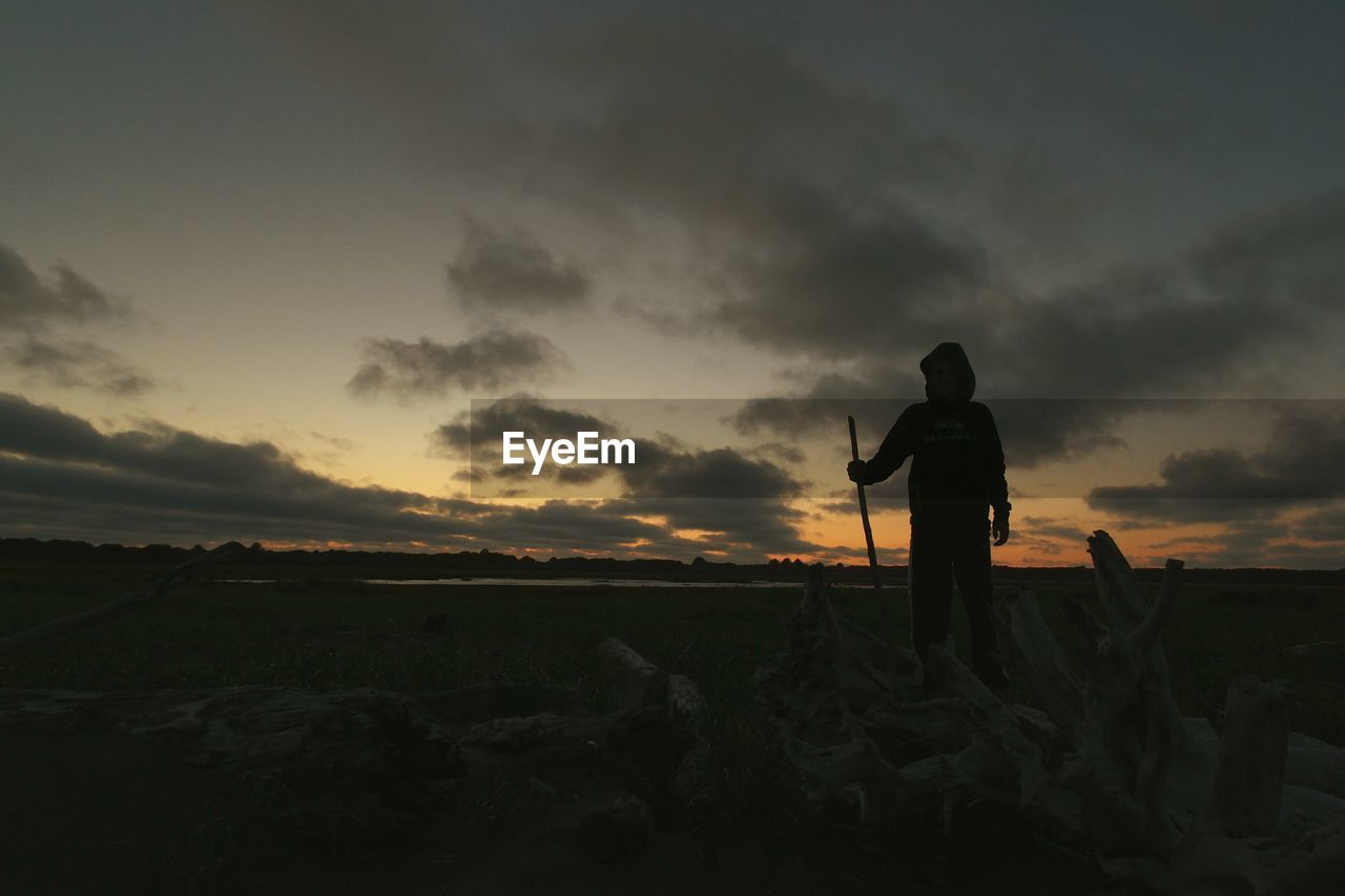 Person standing by driftwood at beach against sky during sunset