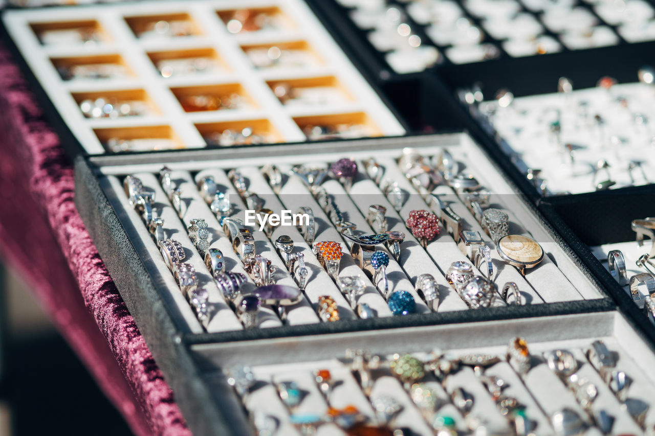 High Angle View Of Rings For Sale In Store