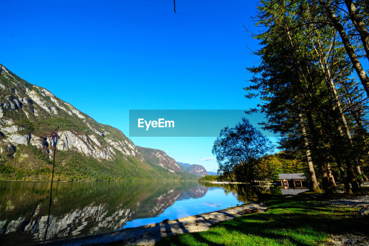 tree, plant, sky, water, blue, beauty in nature, nature, scenics - nature, tranquility, mountain, tranquil scene, day, clear sky, lake, no people, grass, landscape, green color, reflection, outdoors