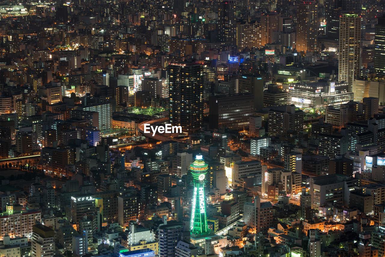 High Angle View Of Illuminated Tsutenkaku Tower In City At Night