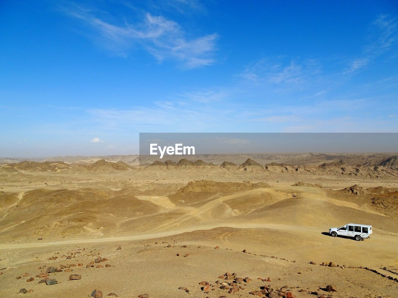 High Angle View Of Off-Road At Desert