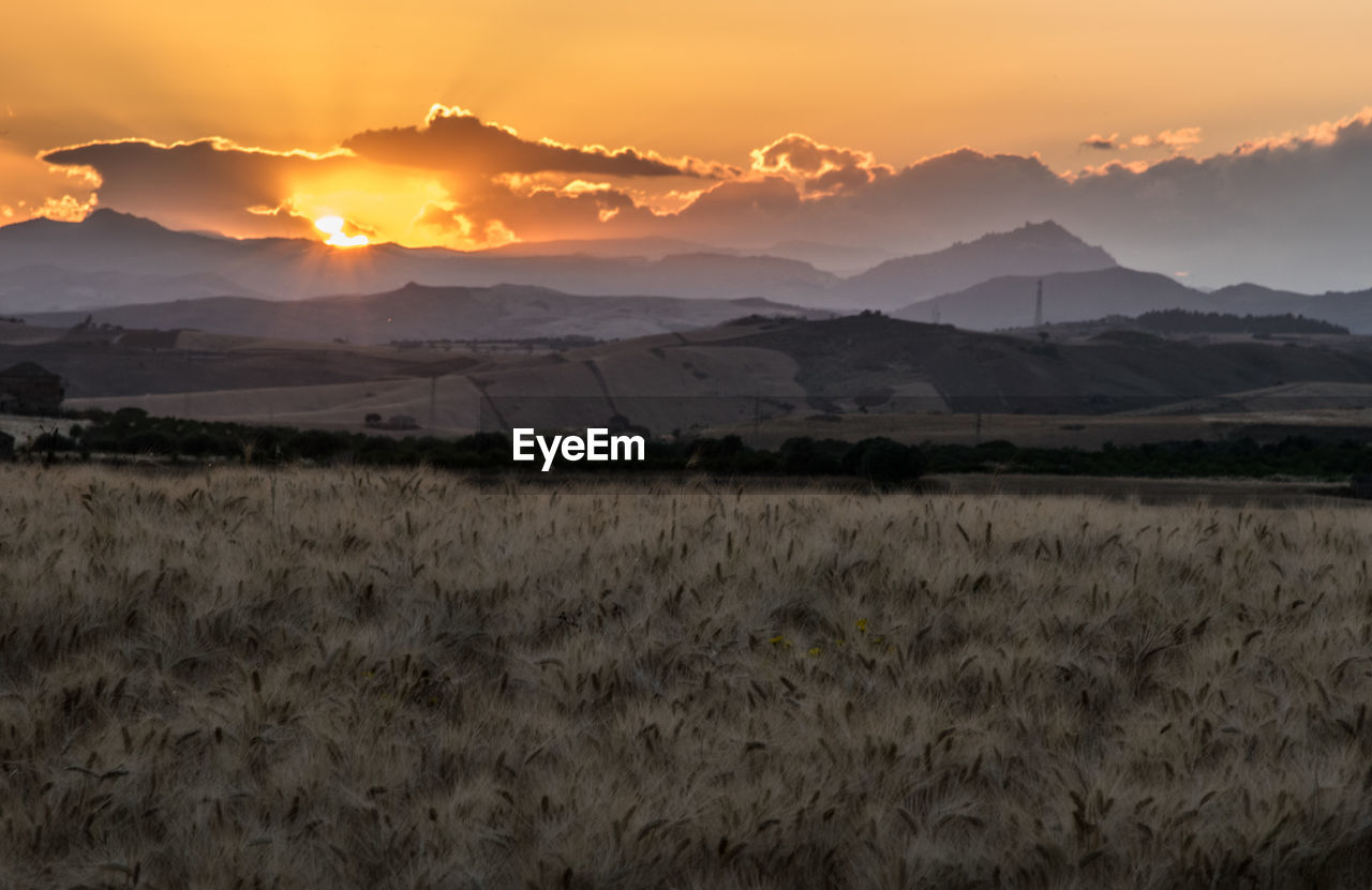 sunset, nature, scenics, mountain, beauty in nature, sky, tranquil scene, landscape, tranquility, no people, field, outdoors, mountain range, day