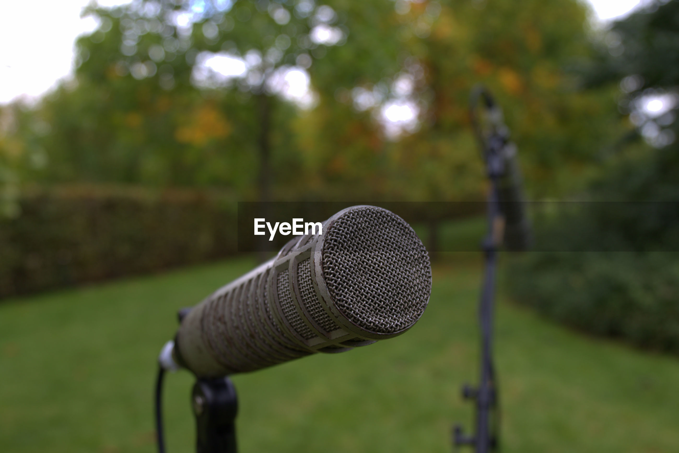 Close-up of microphone on grassy field