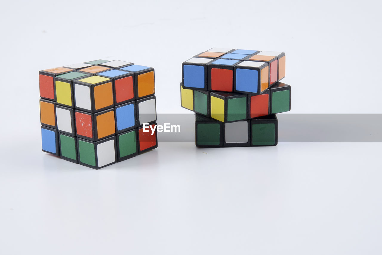 multi colored, toy block, white background, shape, studio shot, variation, indoors, puzzle, stack, no people, close-up, day