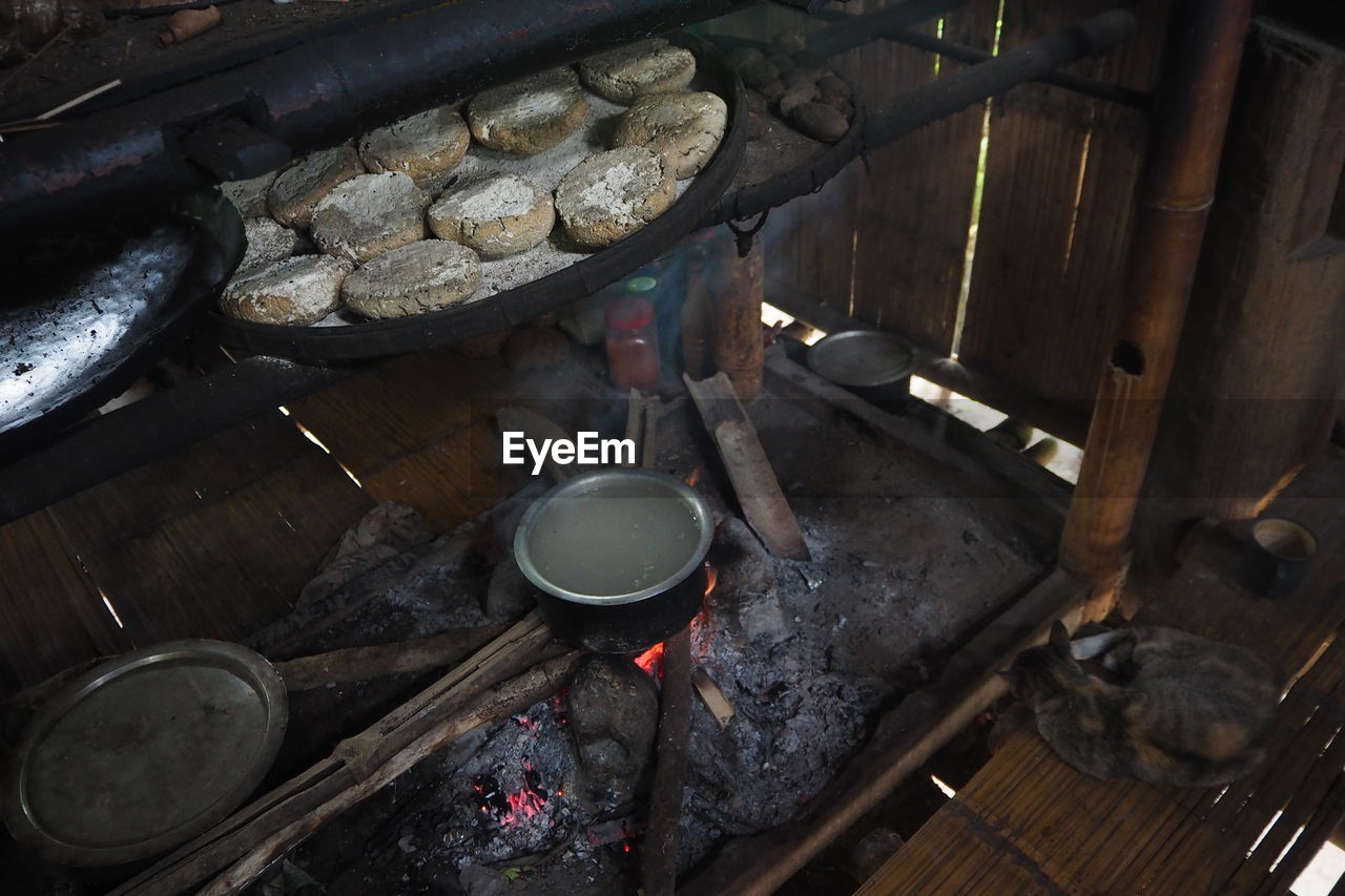 High angle view of food in kitchen