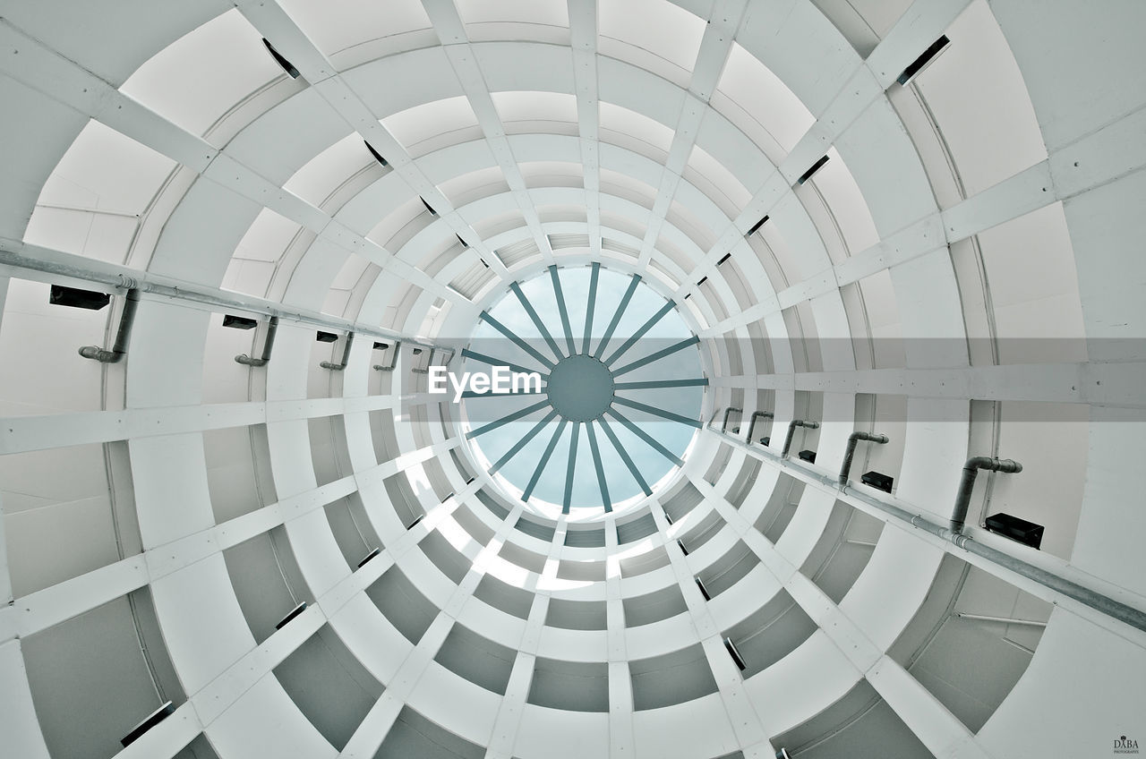 geometric shape, pattern, shape, built structure, circle, indoors, architecture, ceiling, design, directly below, no people, day, white color, low angle view, dome, full frame, backgrounds, modern, architectural feature, cupola, digital composite, architecture and art