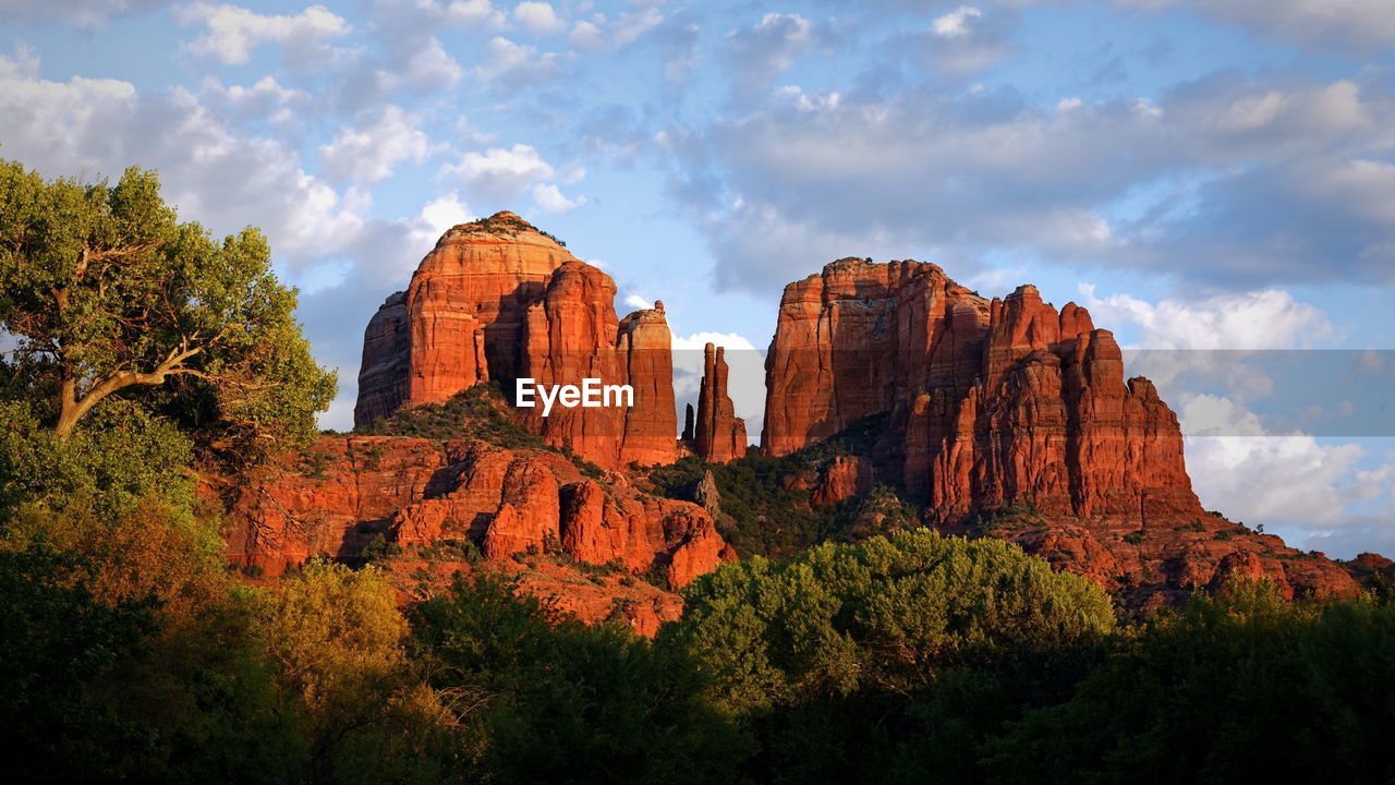 Scenic view of cathedral rock against sky