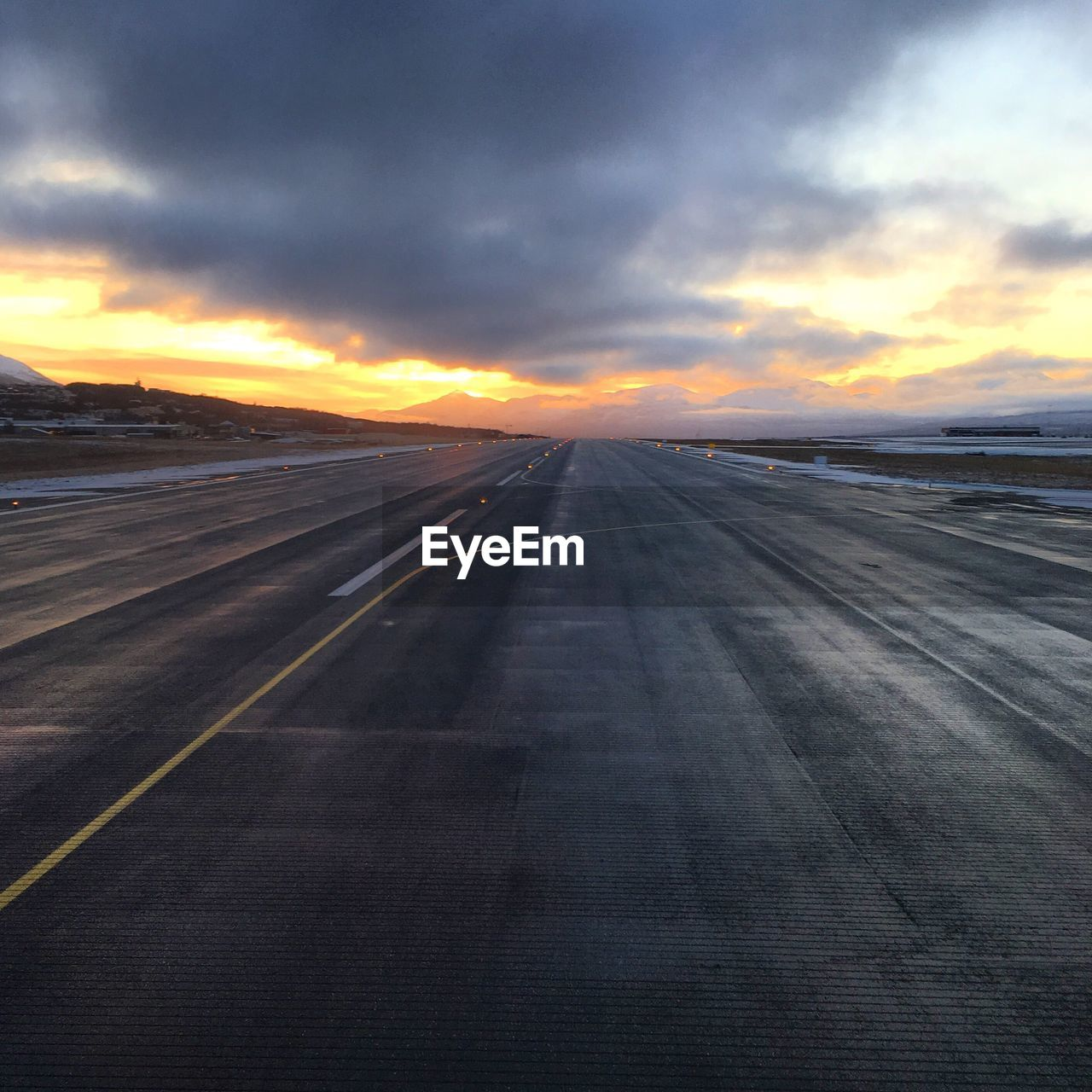 sunset, sky, transportation, cloud - sky, airplane, airport runway, outdoors, scenics, airport, nature, runway, no people, tranquility, beauty in nature, landscape, day