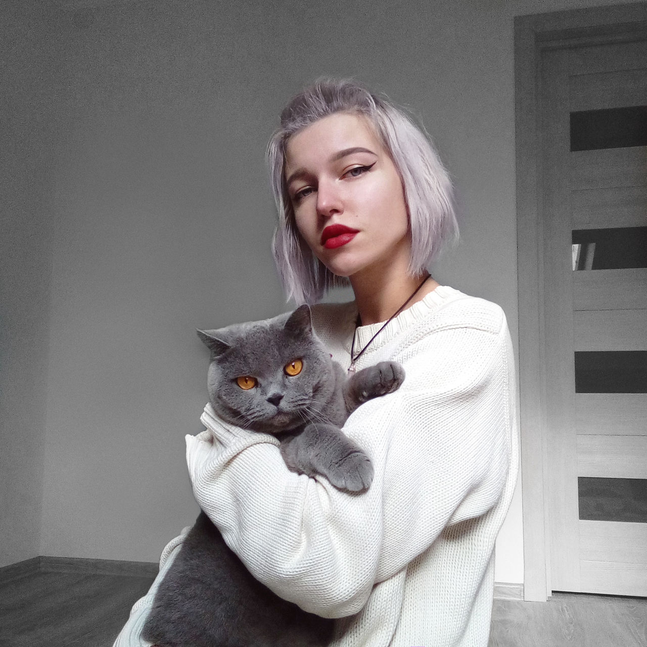 Portrait of young woman holding cat while sitting against wall