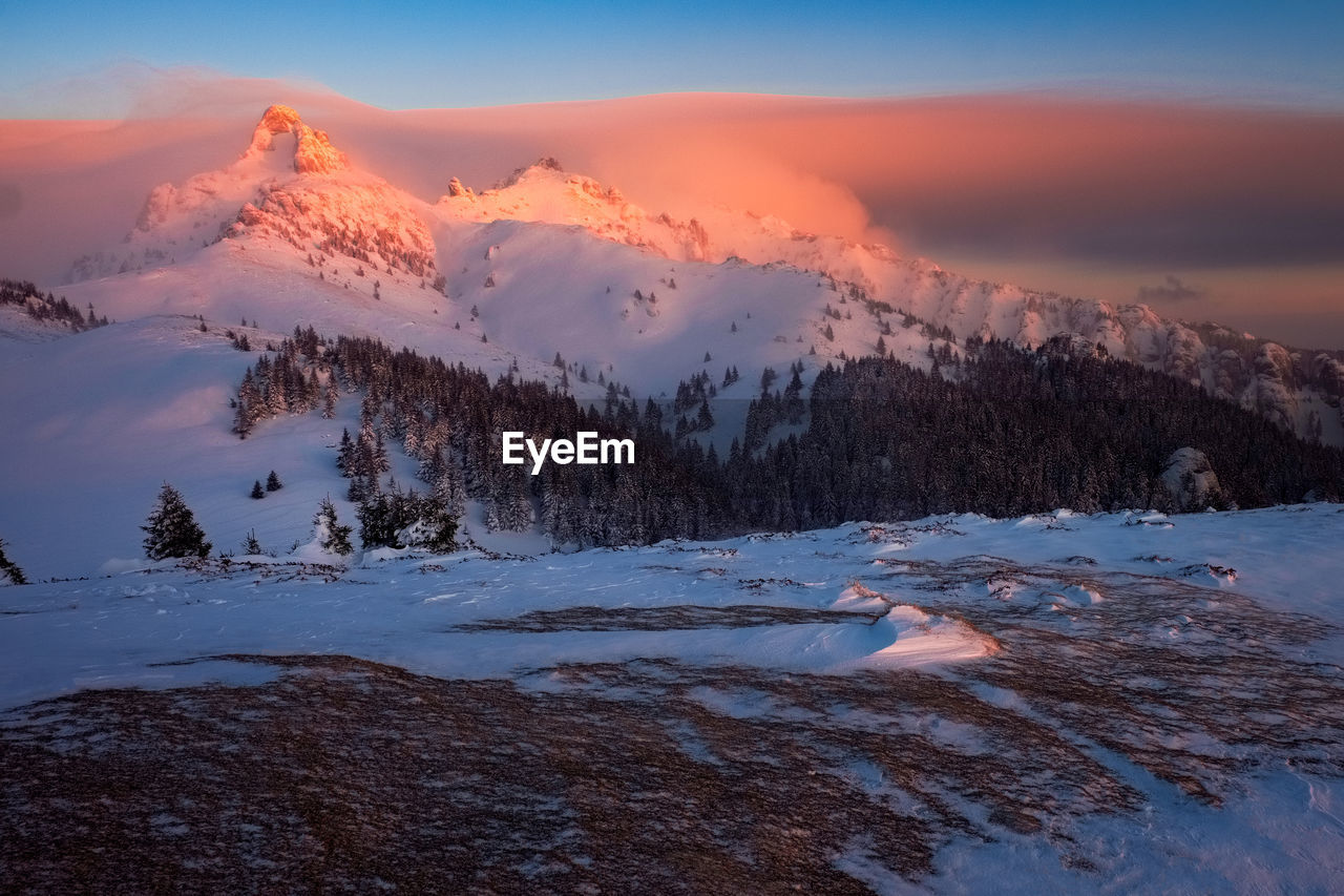 winter, nature, snow, scenics, sunset, tranquility, cold temperature, beauty in nature, tranquil scene, sky, outdoors, mountain, no people, landscape, day
