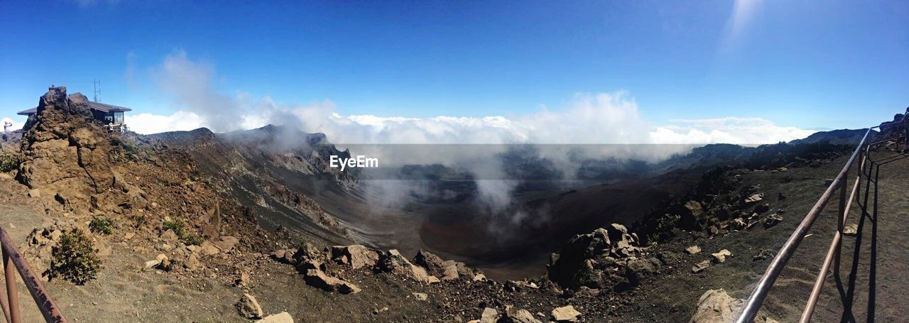 smoke - physical structure, nature, landscape, volcanic landscape, mountain, sky, steam, physical geography, volcanic crater, cloud - sky, beauty in nature, erupting, day, outdoors, scenics, power in nature, no people, forest fire, hot spring