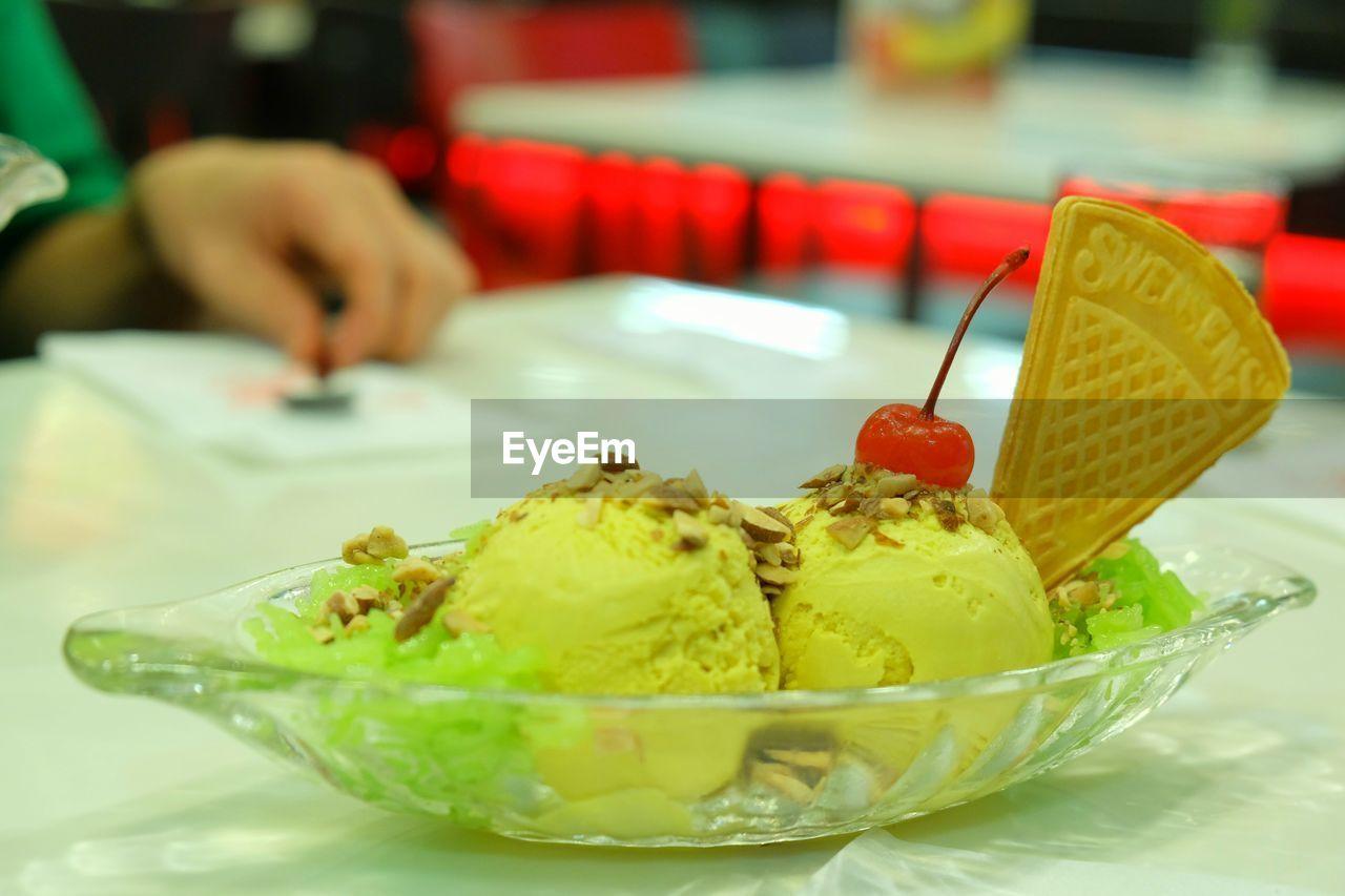 Close-Up Of Ice Cream In Bowl