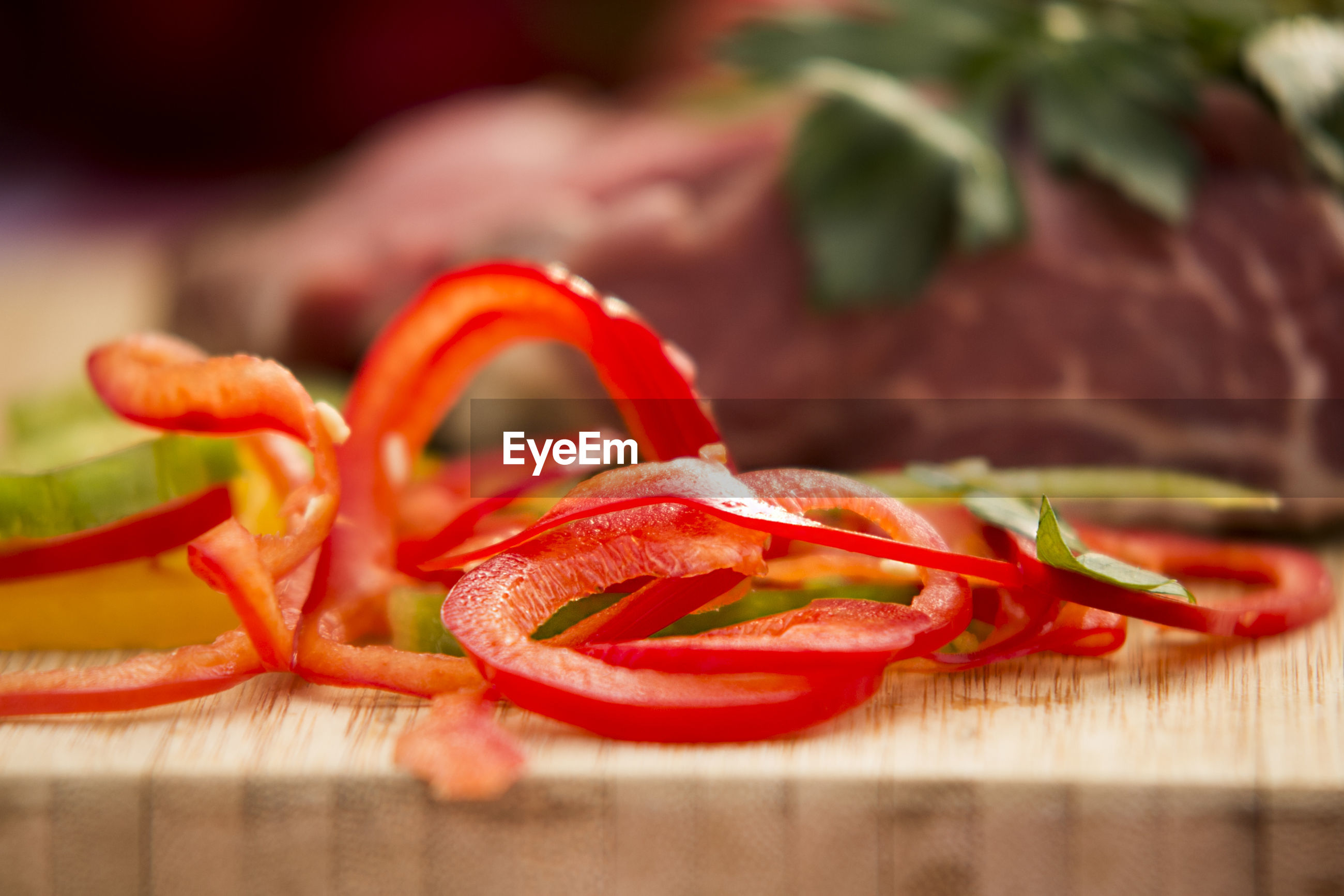 Close-up of red bell pepper on cutting board