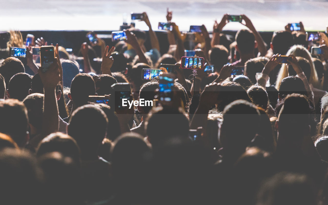 Crowd Photographing With Smart Phones At Music Concert