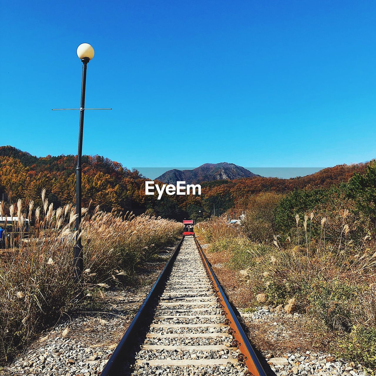 sky, mountain, the way forward, direction, railroad track, track, rail transportation, nature, clear sky, transportation, beauty in nature, blue, scenics - nature, landscape, plant, diminishing perspective, tranquility, no people, environment, day, outdoors, long