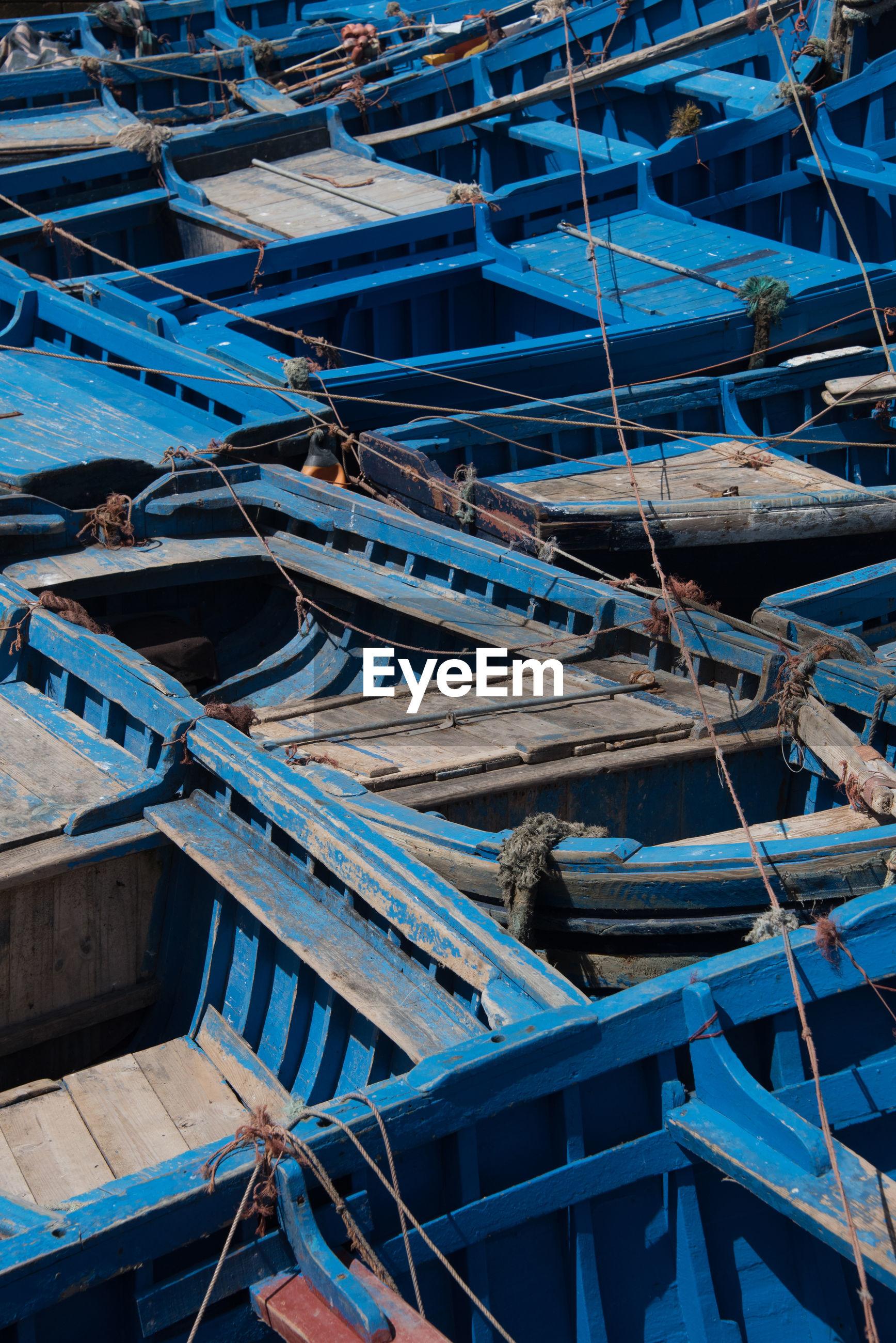 Full frame shot of fishing boats moored at harbor