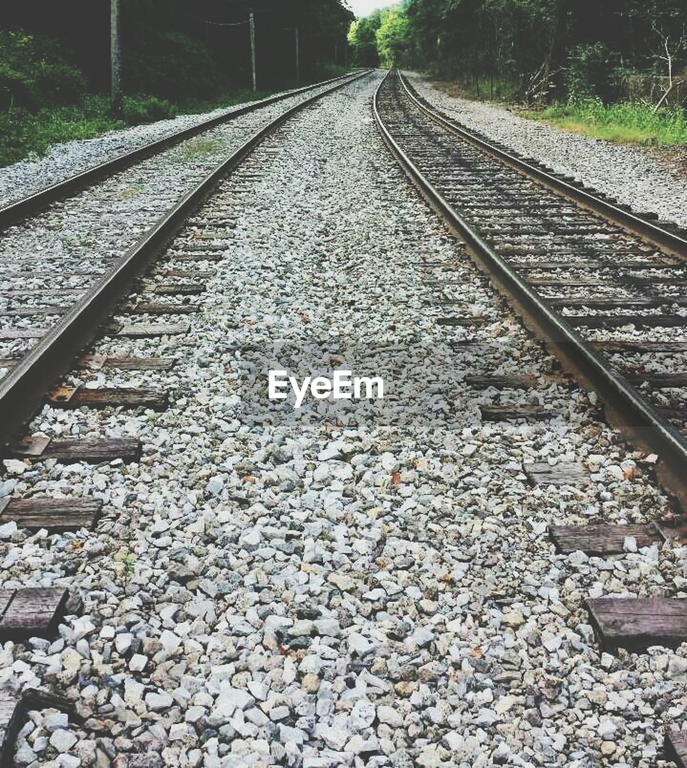 railroad track, rail transportation, transportation, the way forward, diminishing perspective, vanishing point, railway track, public transportation, straight, gravel, surface level, day, stone - object, long, no people, travel, high angle view, metal, tree, outdoors