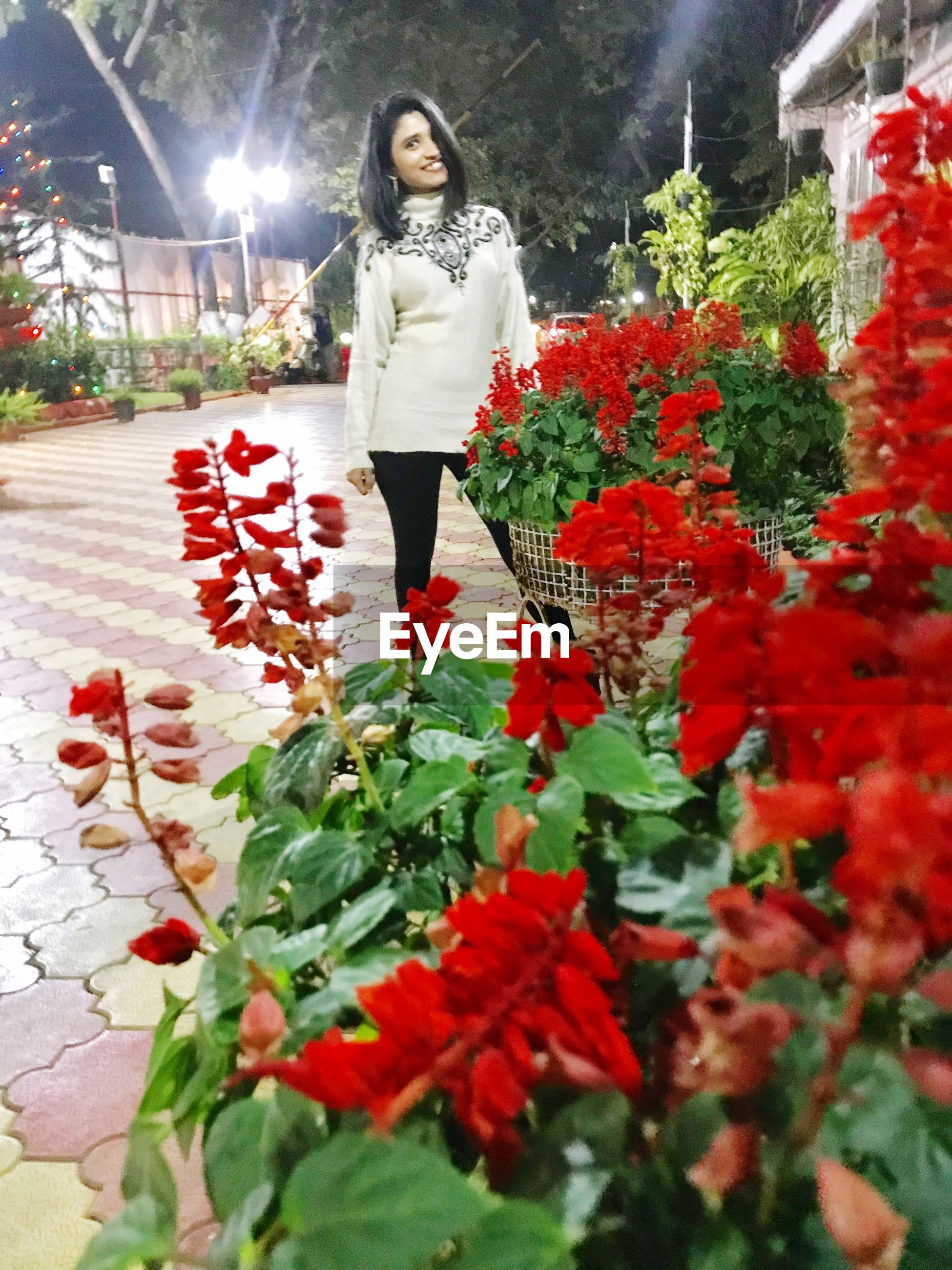 Portrait of woman standing by red flowering plants at night