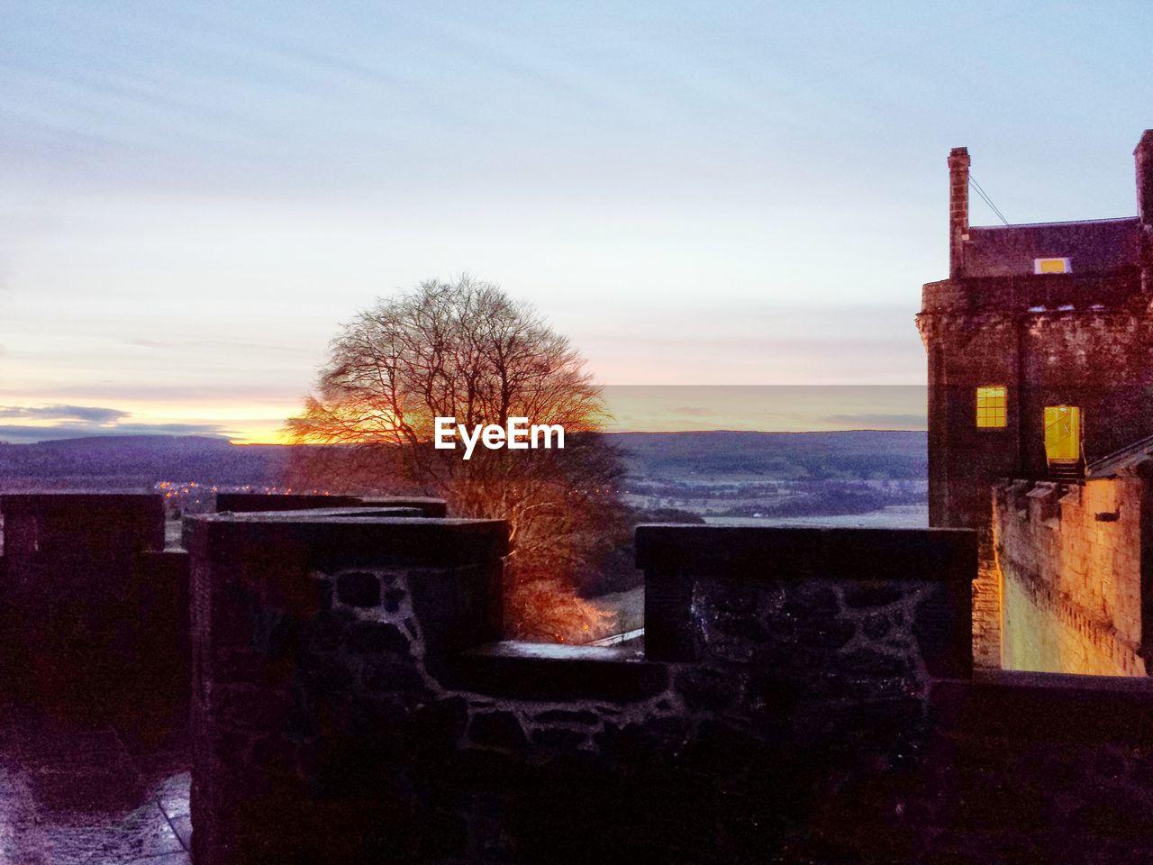 Stirling castle against sky during sunset