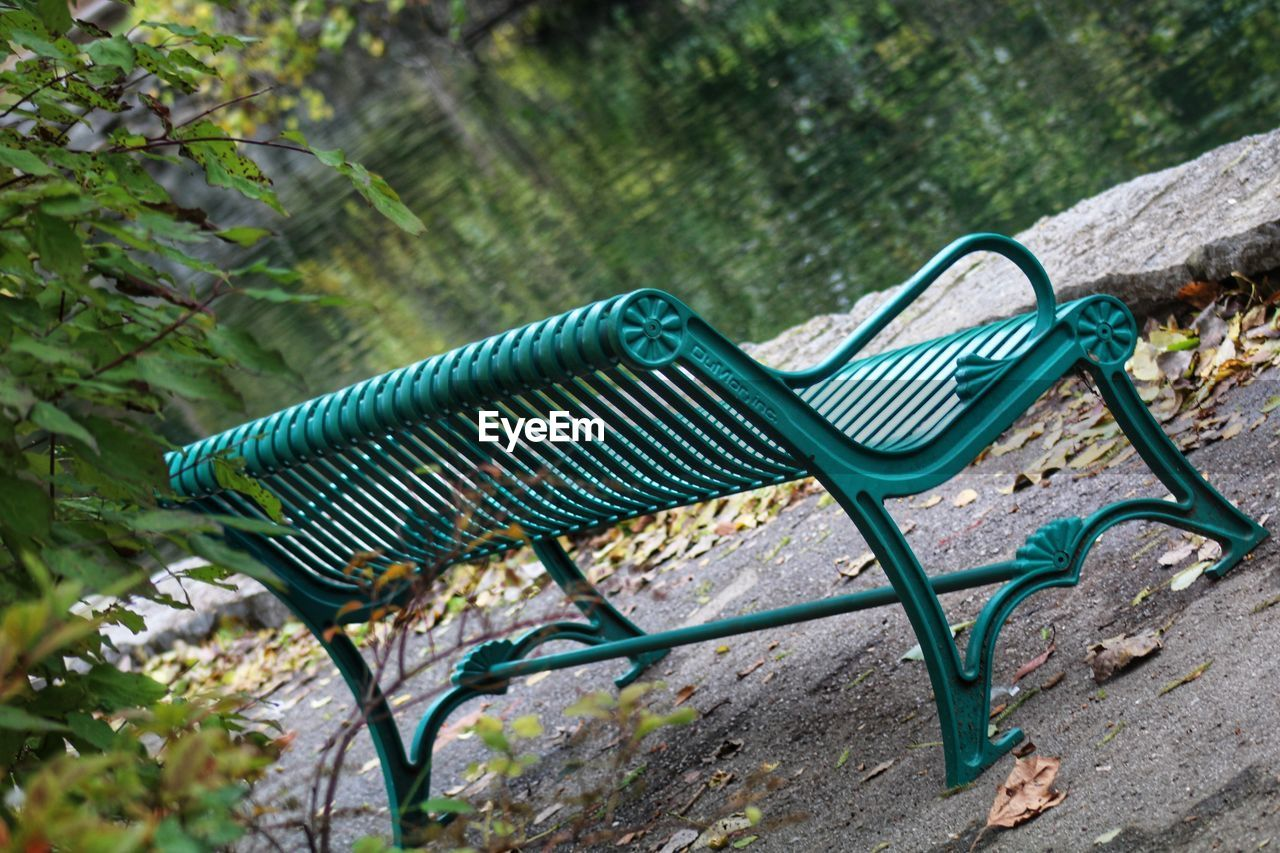plant, no people, day, nature, focus on foreground, outdoors, seat, absence, metal, bench, land, empty, rock - object, close-up, green color, rock, tree, selective focus, park, growth, turquoise colored