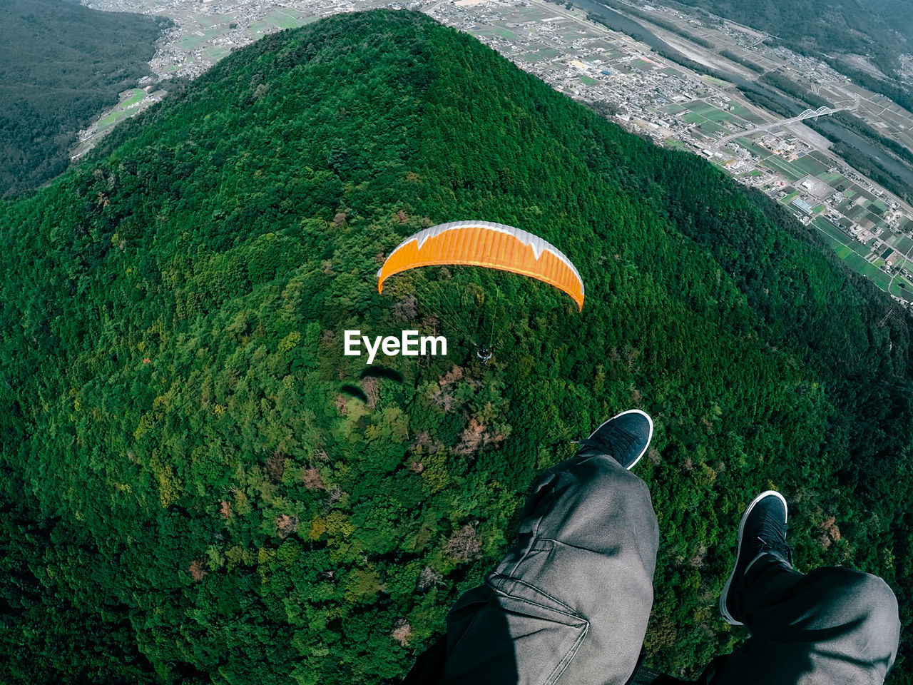 Low Section Of Man Flying Above Forest