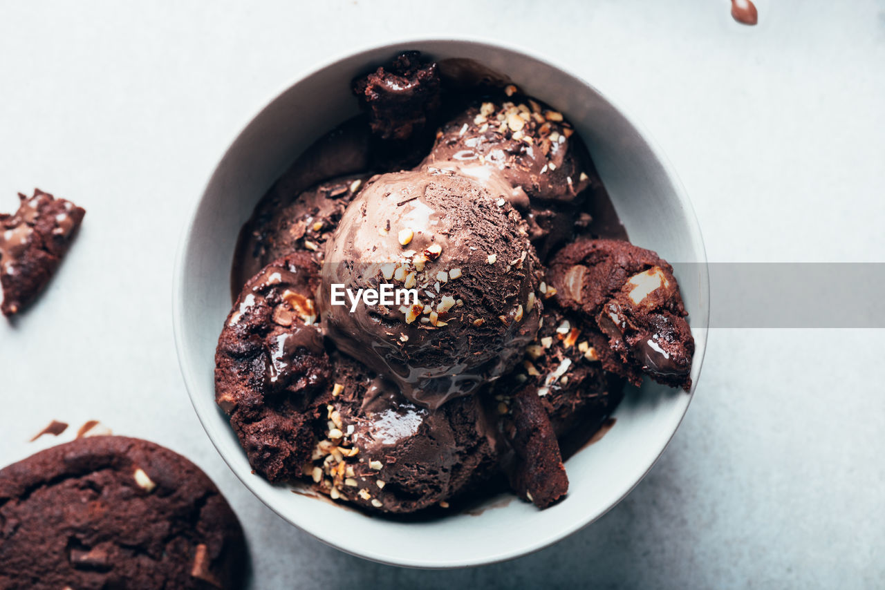 Rich and indulgent chocolate ice cream scoops with dark chocolate pieces on a plate